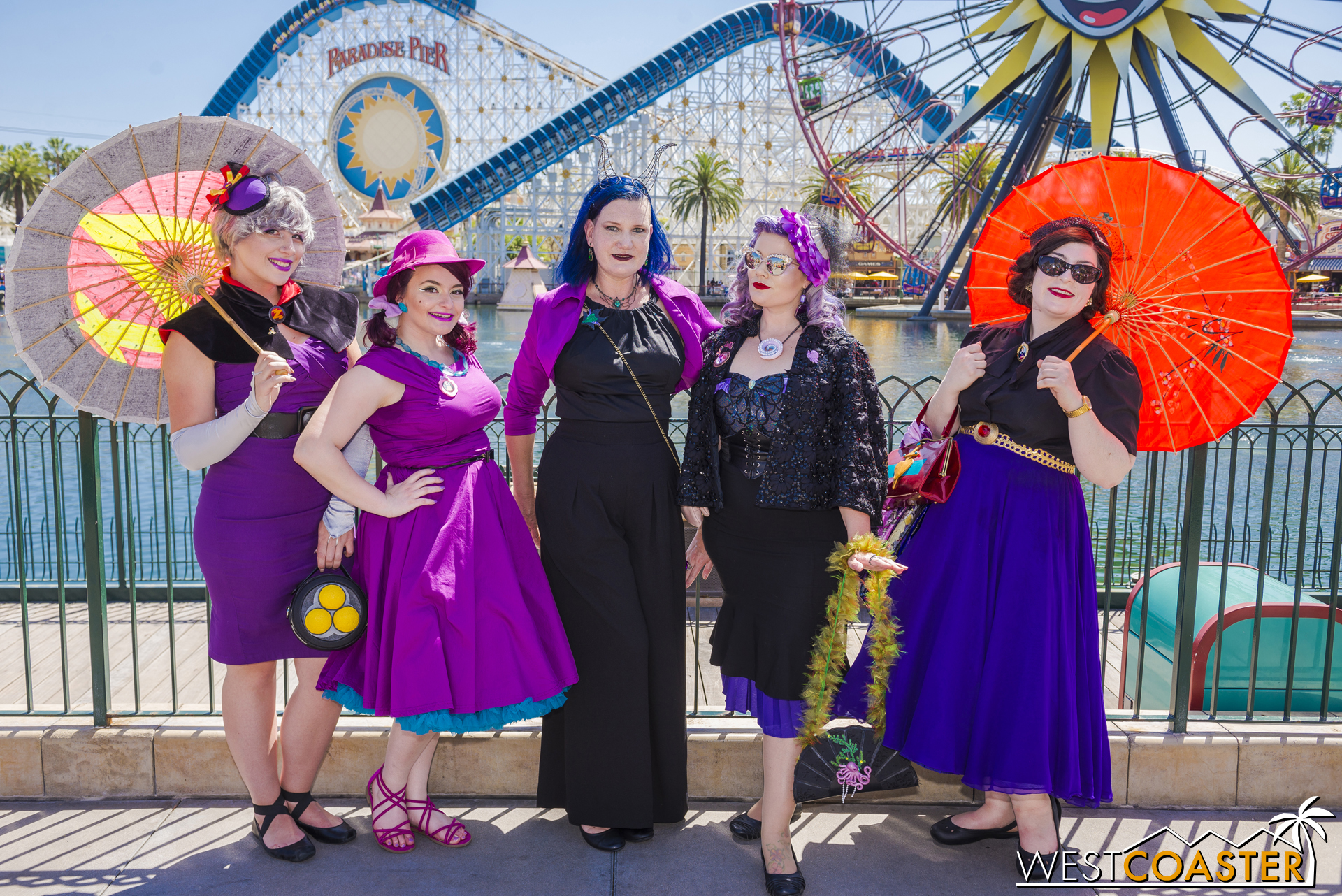 The Purple Villain Squad was pretty fantastic and a group I ran into several times on Sunday. Left to right: Emperor Zurg from  Toy Story , Governor Ratcliff from  Pocahontas , Hades from  Hercules , Ursula from  The Little Mermaid , and the Evil Queen from  Snow White .