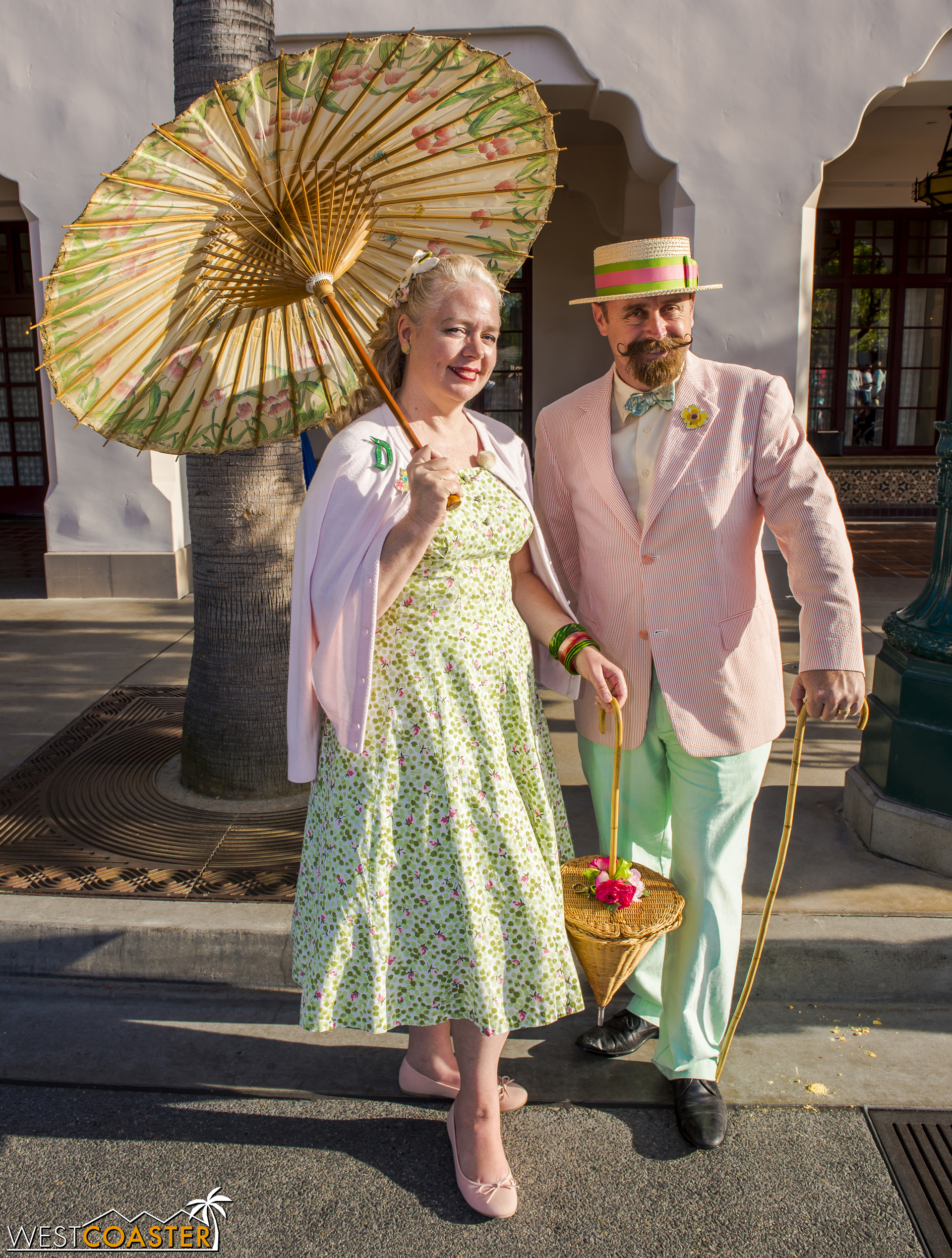 This couple imbibes full springtime and Easter vibrance.