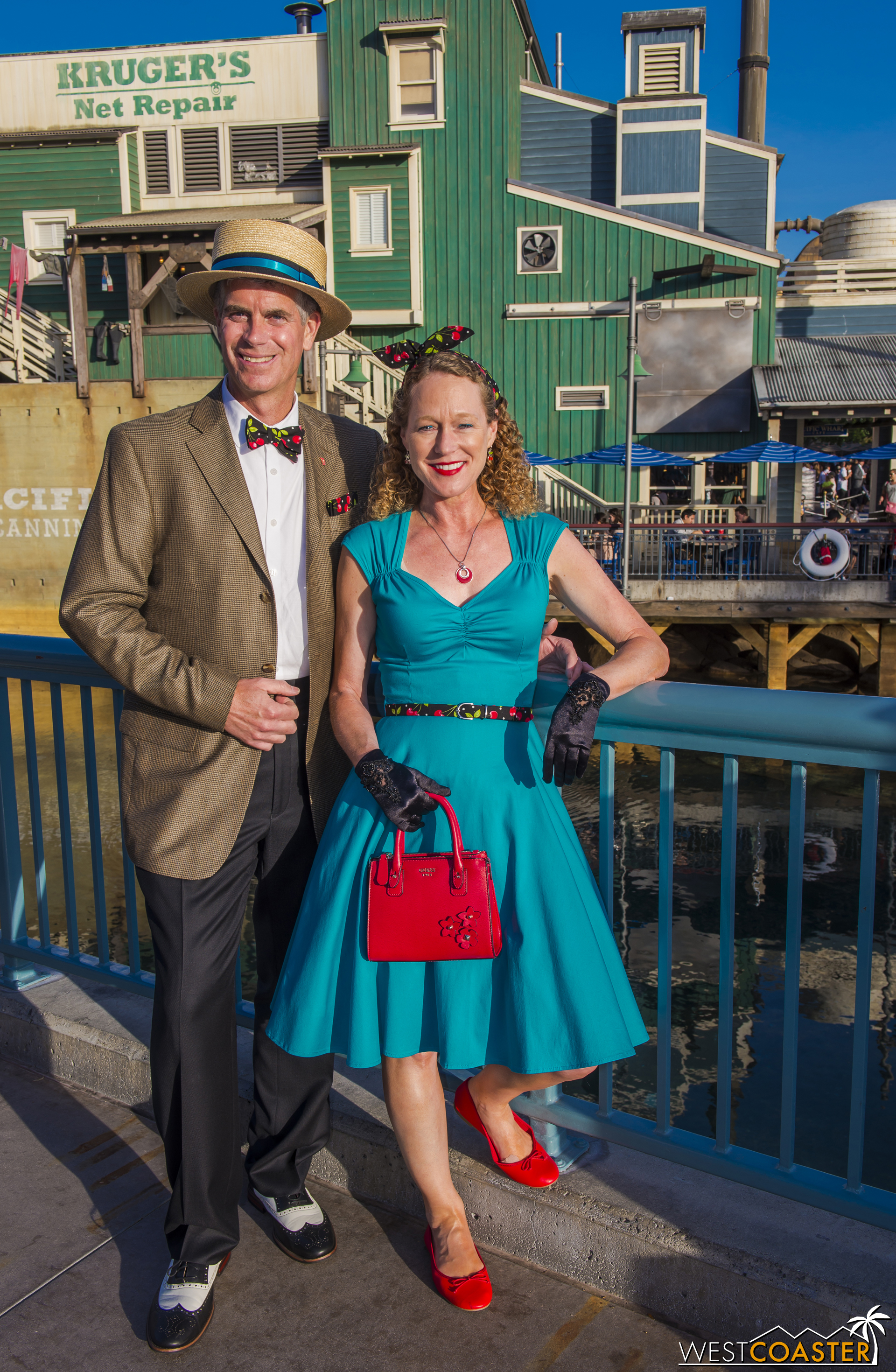 Another familiar face, Todd Young (  @Disneyland67   on Instagram), a fantastic photographer who owns multiple actual vintage cameras and is consistently on point with his Dapper Day style. And his wife too.