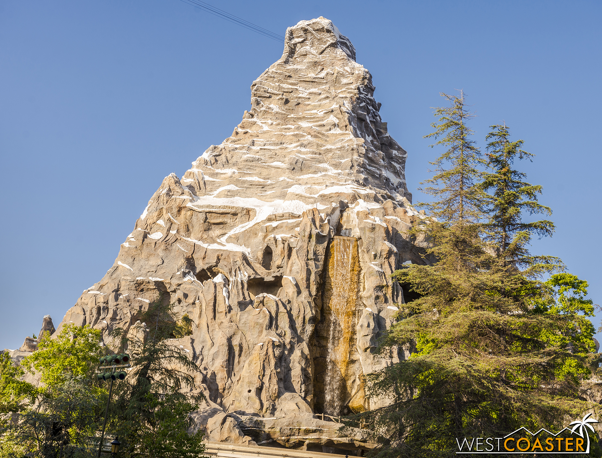 The waterfall is on, which means Disneyland's first roller coaster is back open!