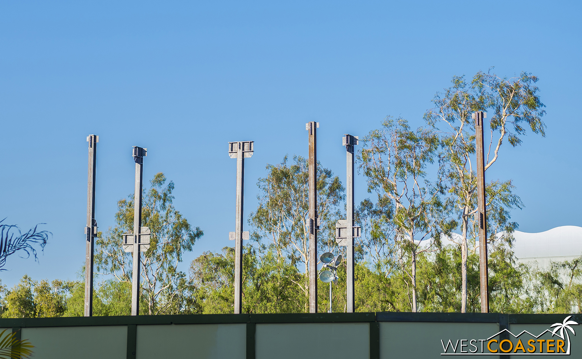 The first columns and parts of braced frames have gone up. And in fact, on Sunday, beams had joined them.