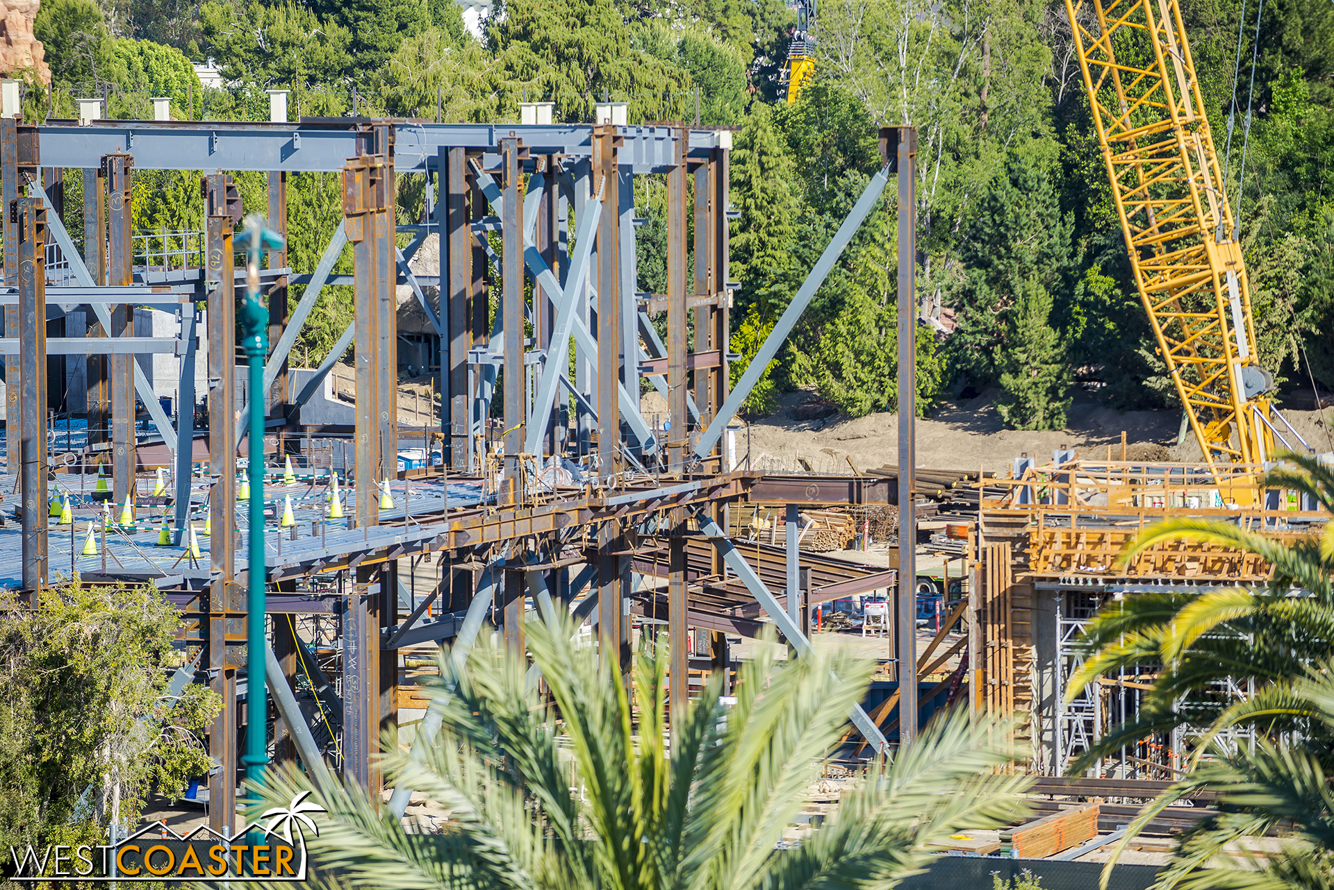The roof framing for this part hasn't gone up yet at the Cursed Order attraction.