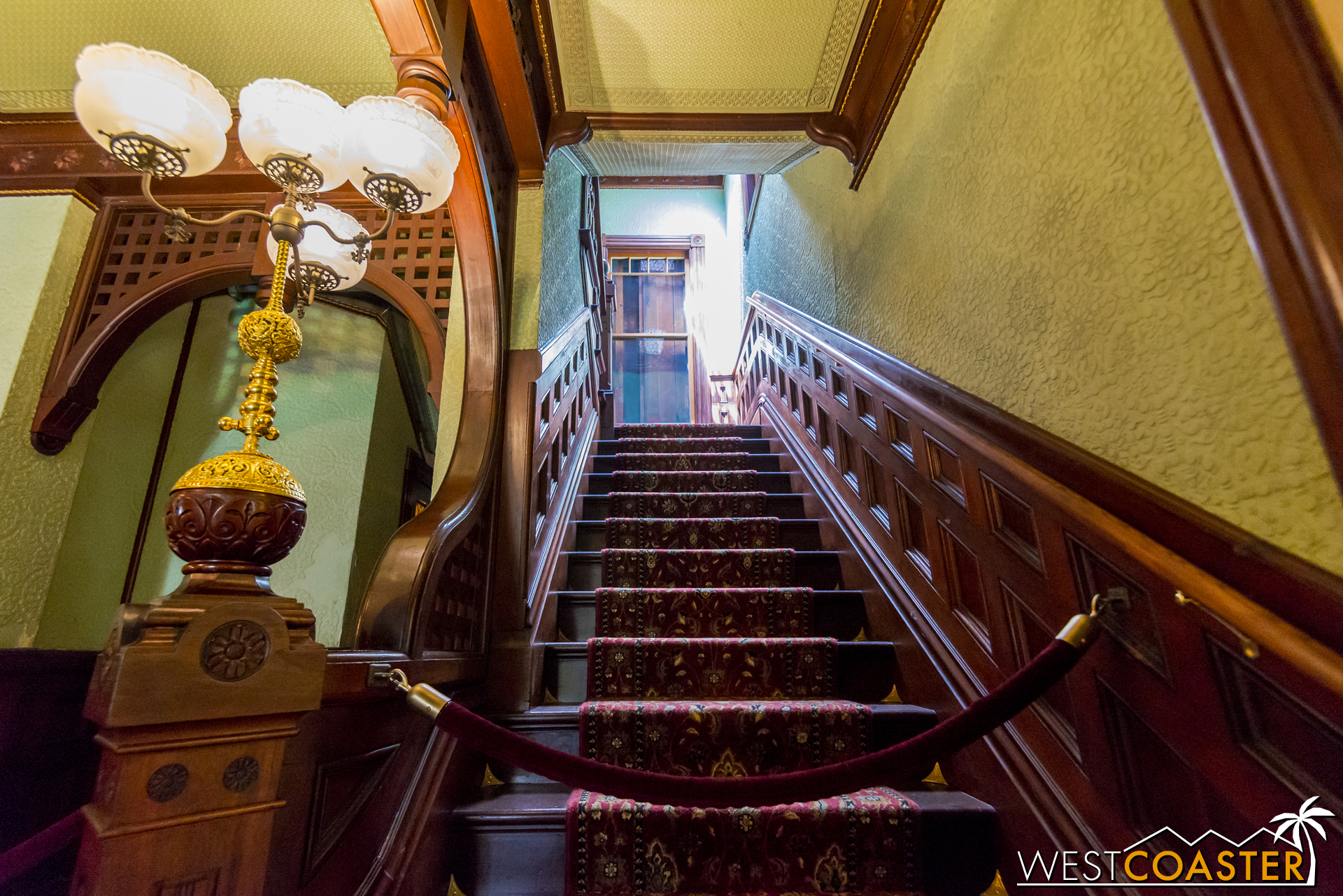 Looking up one of the many stairs within the Winchester Mystery House.