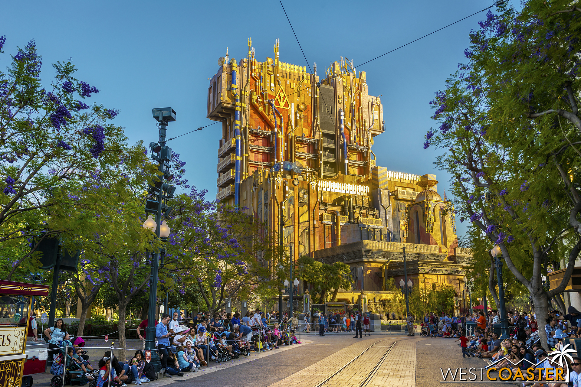 Overview, with guests lined up for the Pixar Play Parade.