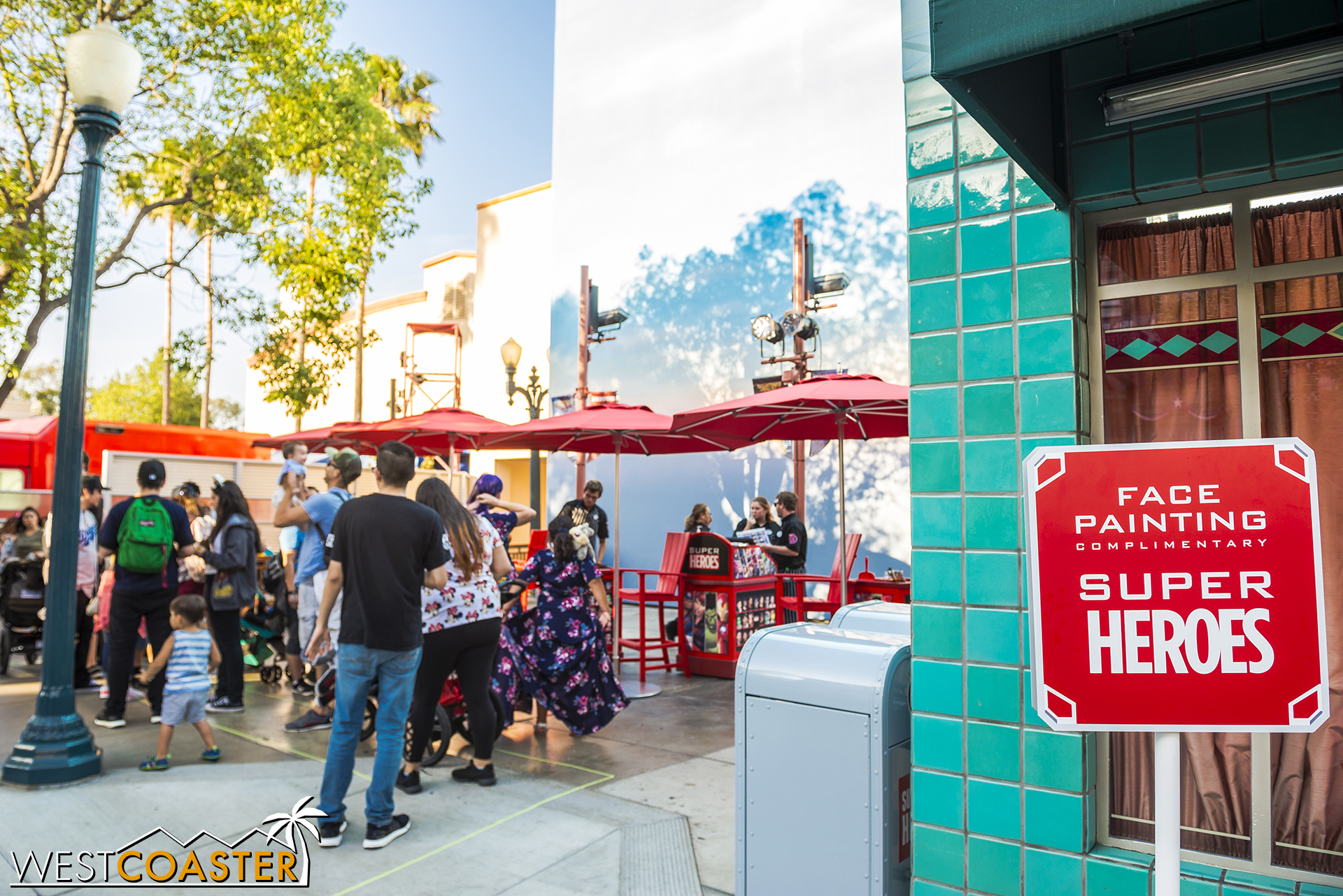 People can get Marvel facepainting here, next to the Hollywood Blvd forced perspective mural.
