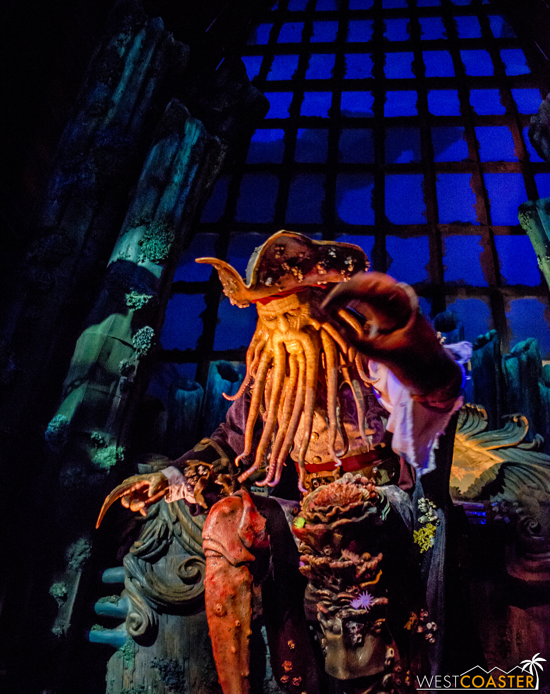 Davy Jones gives a warning on Pirates of the Caribbean: Battle for the Sunken Treasure.