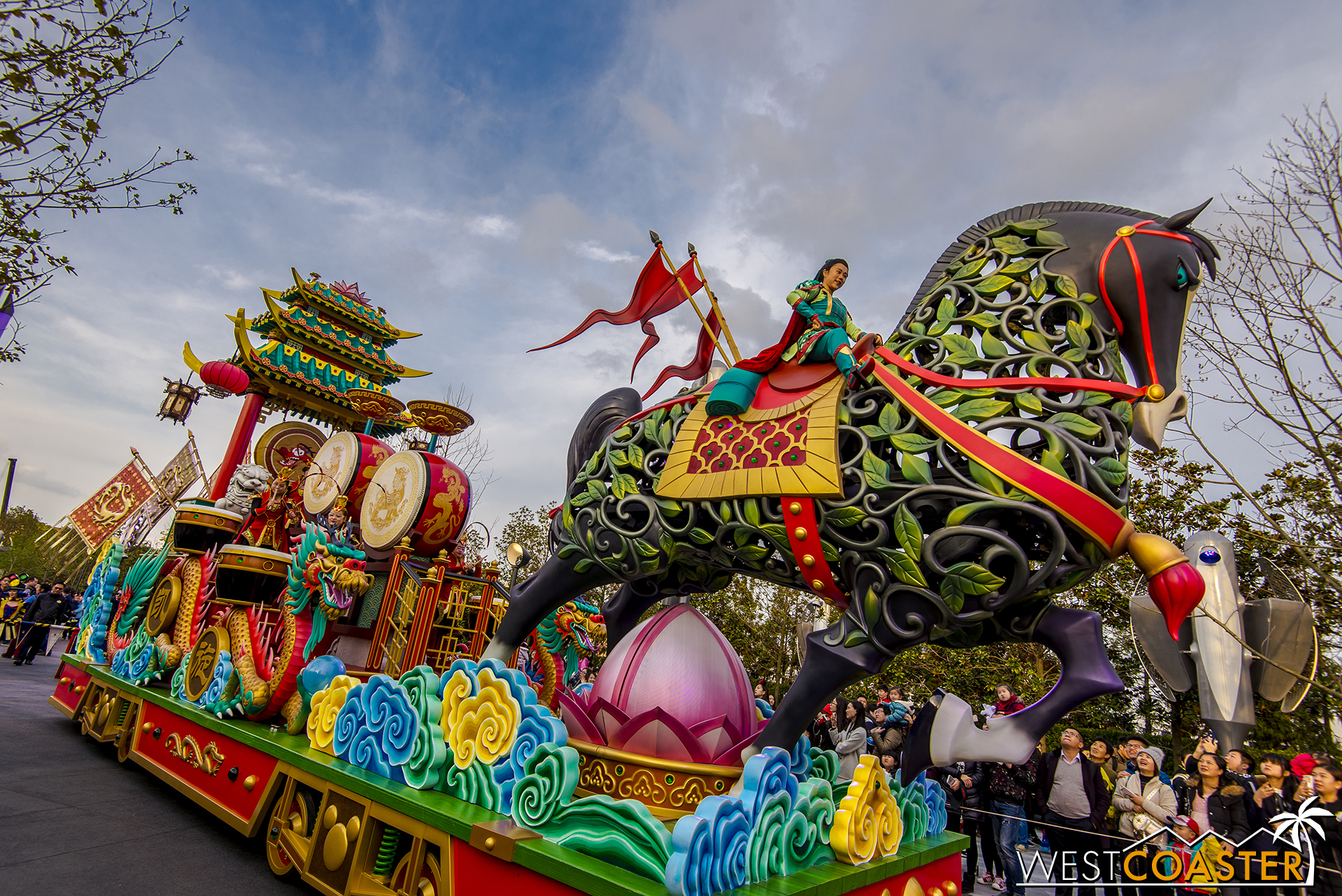 The Mulan float is among the most impressive in Mickey's Storybook Express.