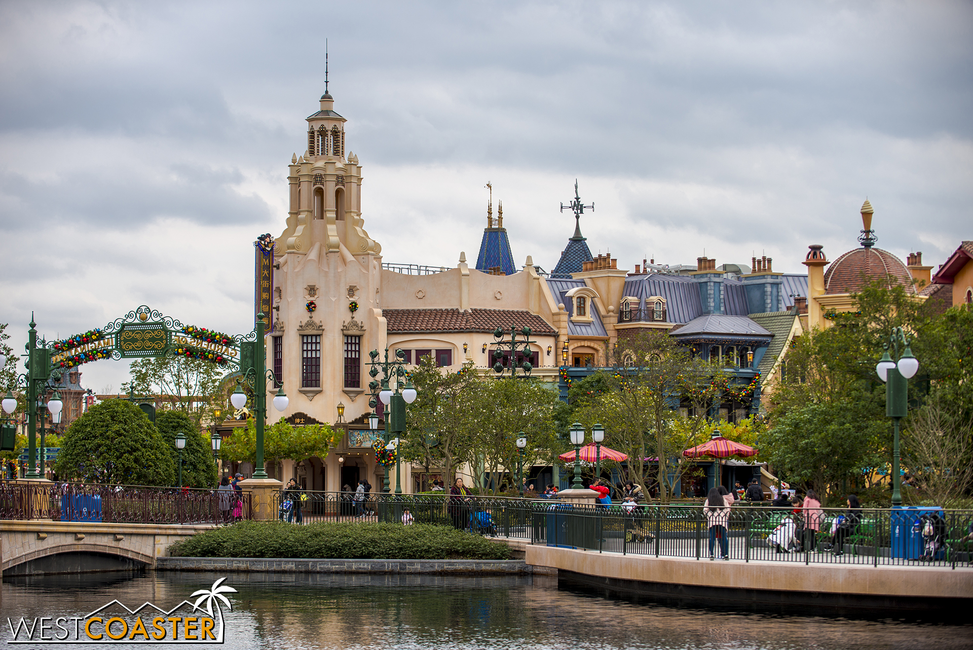 A familiar-looking tower rises up at the end of Mickey Avenue.