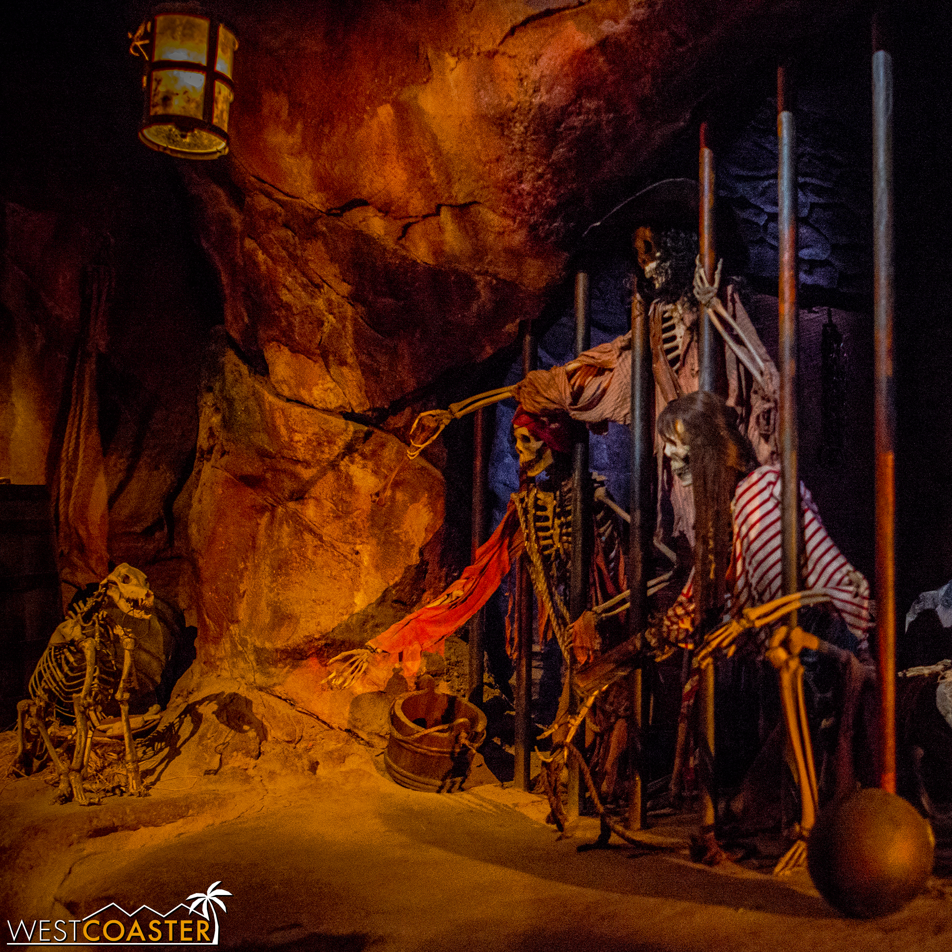 A different twist on a familiar scene inside Pirates of the Caribbean: Battle for the Sunken Treasure.