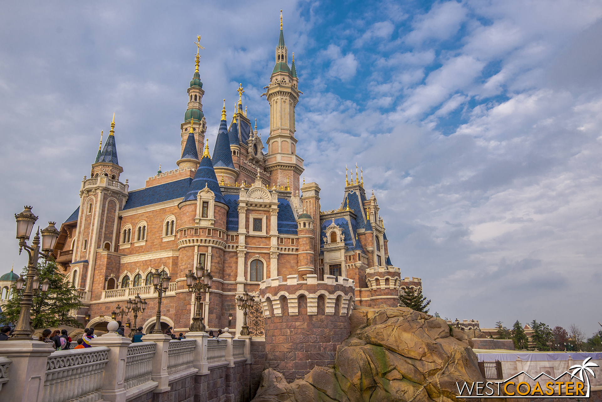 The Enchanted Storybook Castle during afternoon golden hour.
