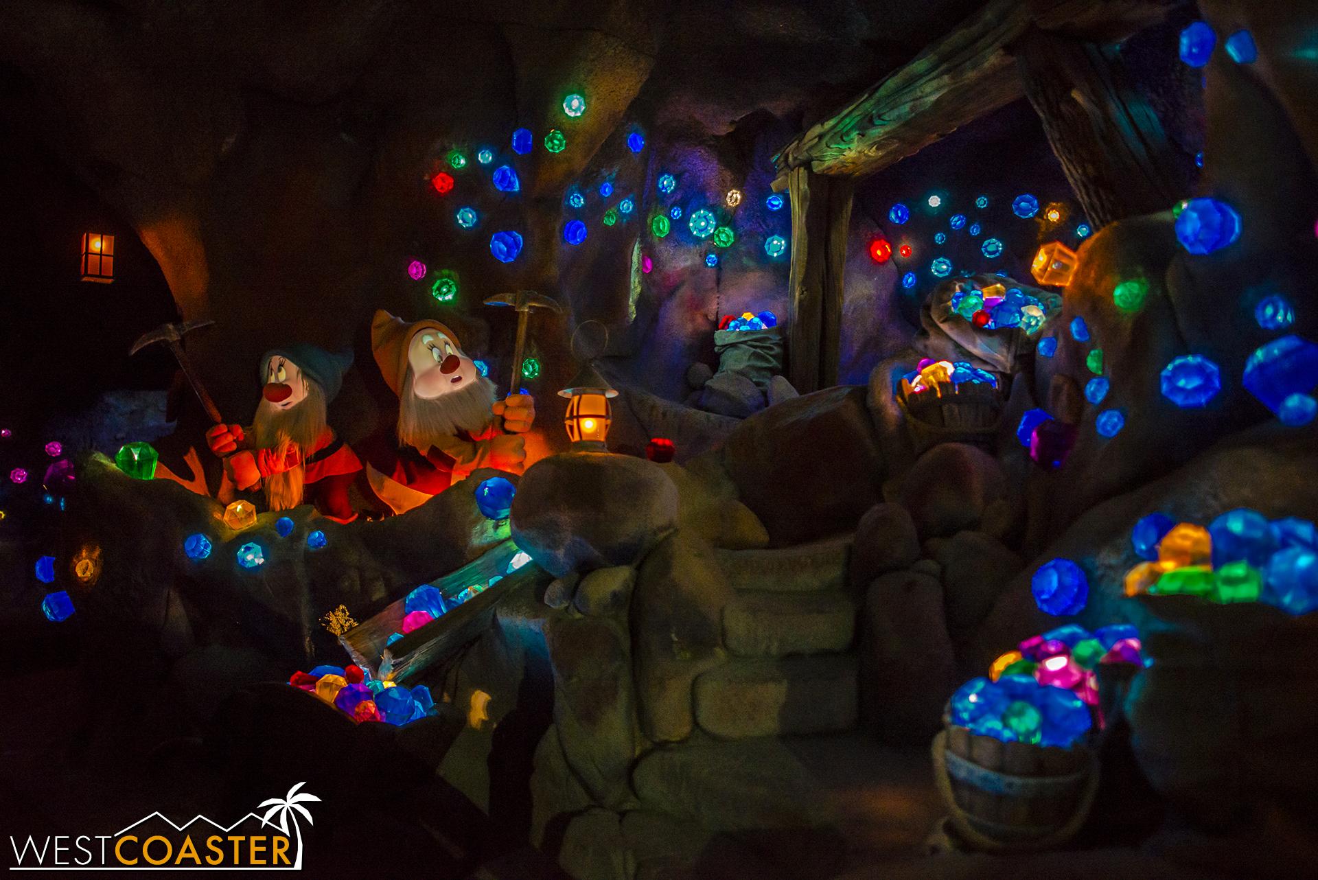 Inside the Seven Dwarfs Mine Train.