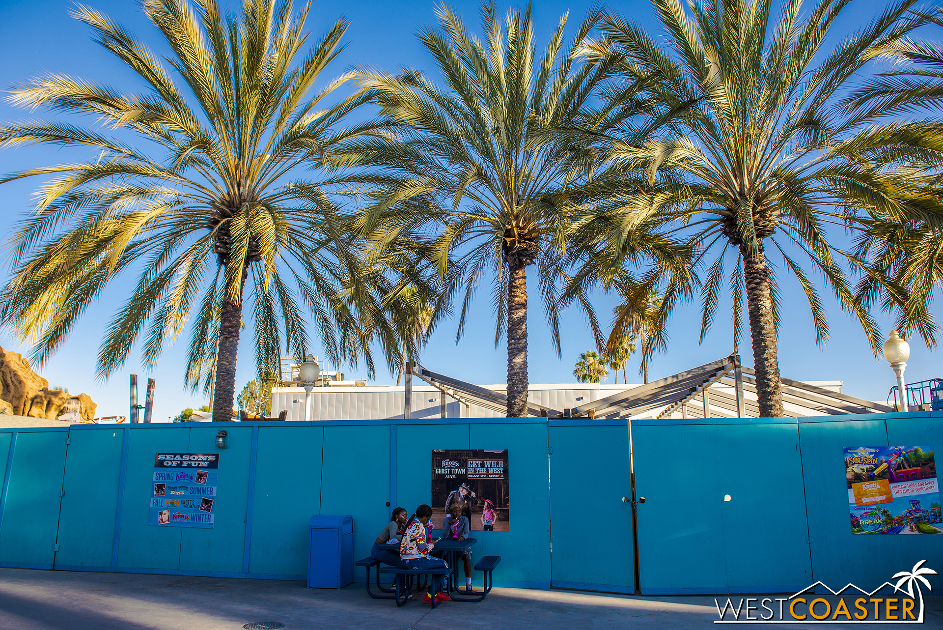 On the side facing Xcelerator, they are building some seating shade structures.