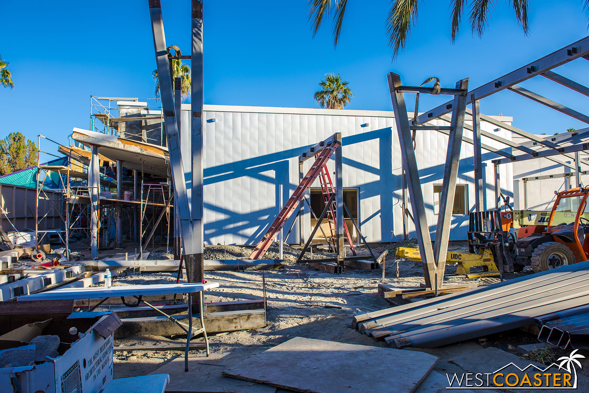 But some beams are going up, and there are classic mid-century chevron forms starting to become evident.