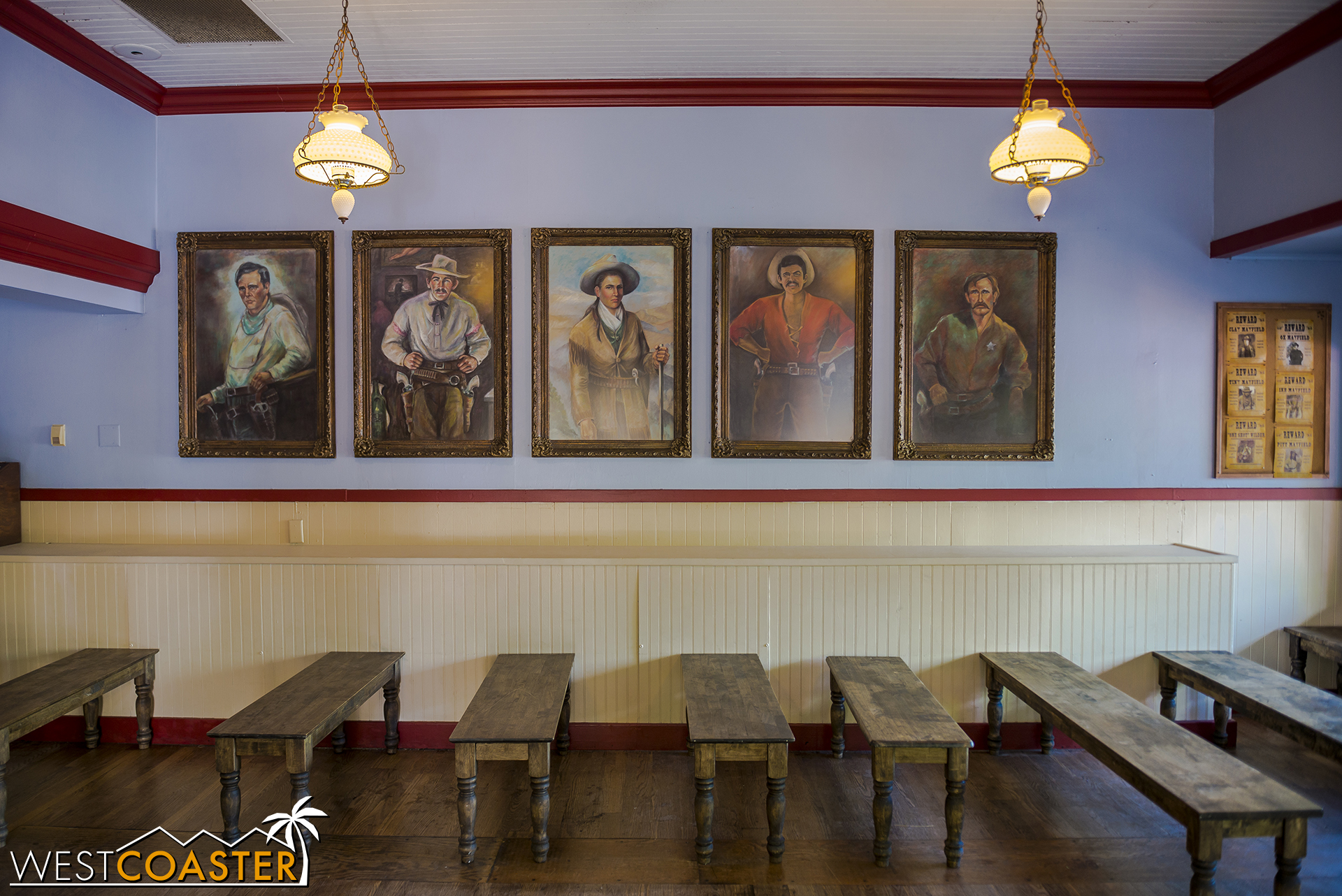 The room has been switched over from its Boysenberry Festival and has portraits of Calico's [fictitious] historical figures, including the matriarch of the Mayfield clan in the middle there.