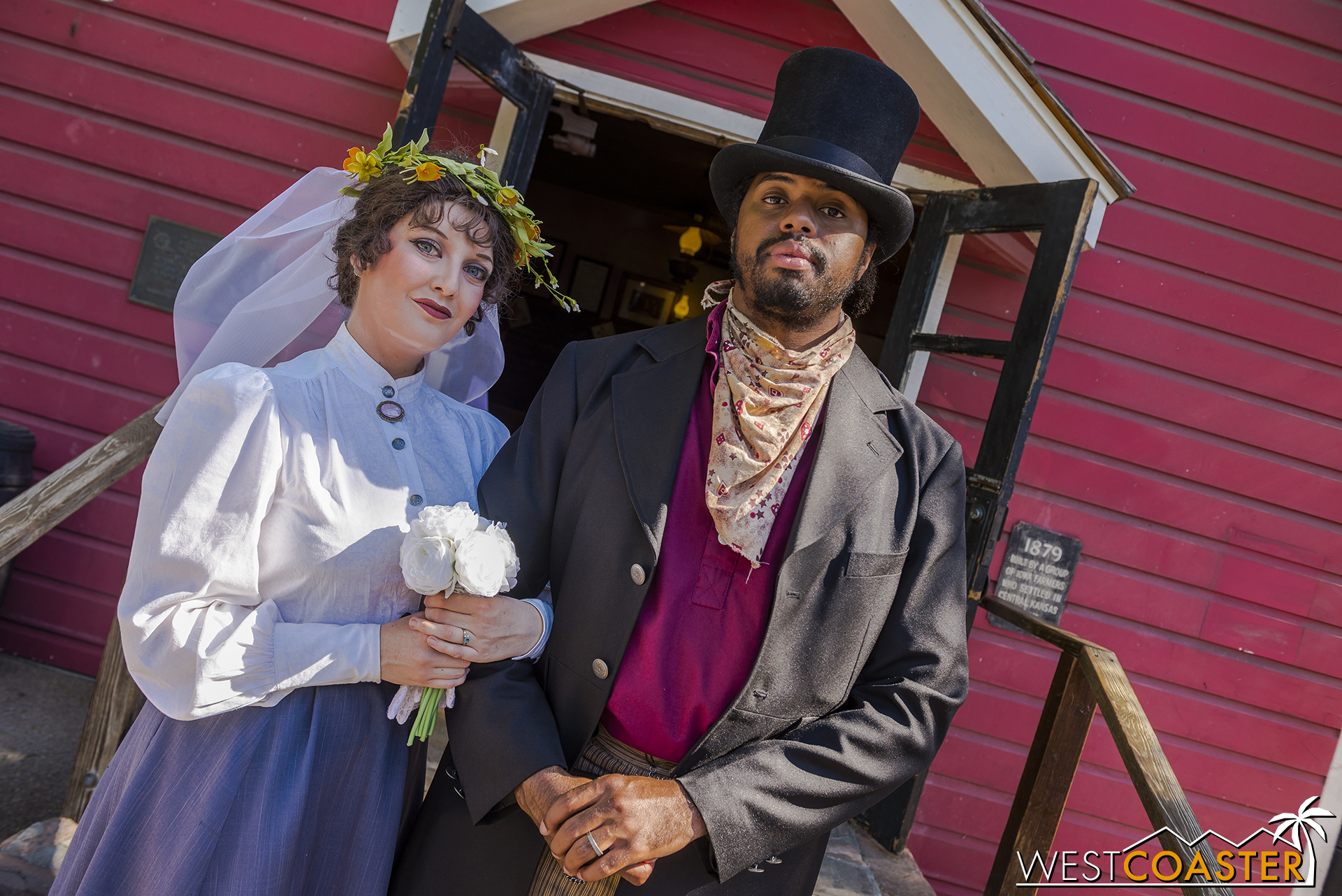 A charming wedding in front of the Schoolhouse between Maggie and town Dr. Dillard Marsh.