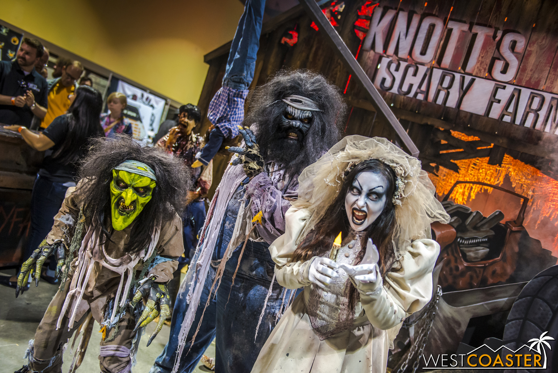 Some iconic and long-running Knott's Scary Farm faces greeted guests/victims passing by the Knott's Scary Farm booth in the exhibition hall.