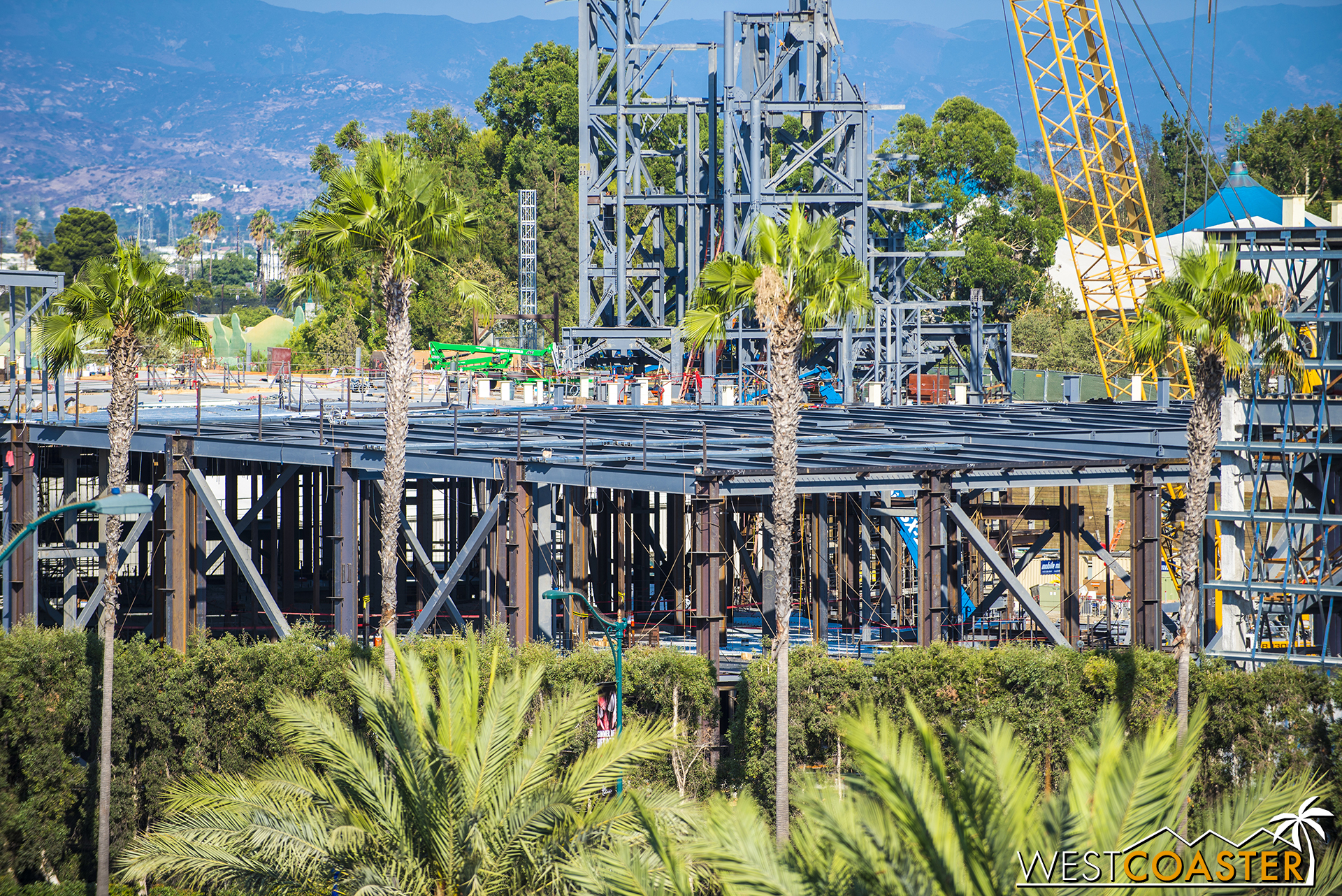 The steel framing for those future mountains has grown.  Should be fun to see how far along this eventually stretches.