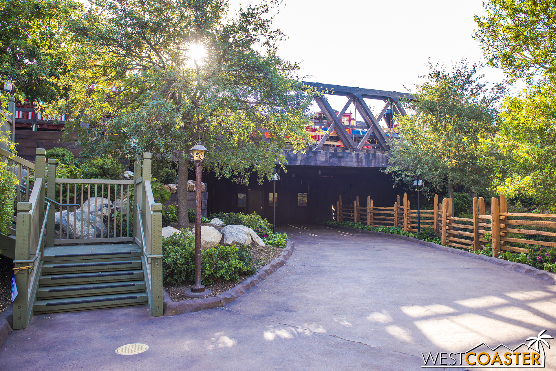"The pathway between the Hungry Bear Restaurant and Rivers of America now leads all the way to the Disneyland Railroad overcrossing, stopping at work walls that separate ""Star Wars"" Land from the rest of the park."