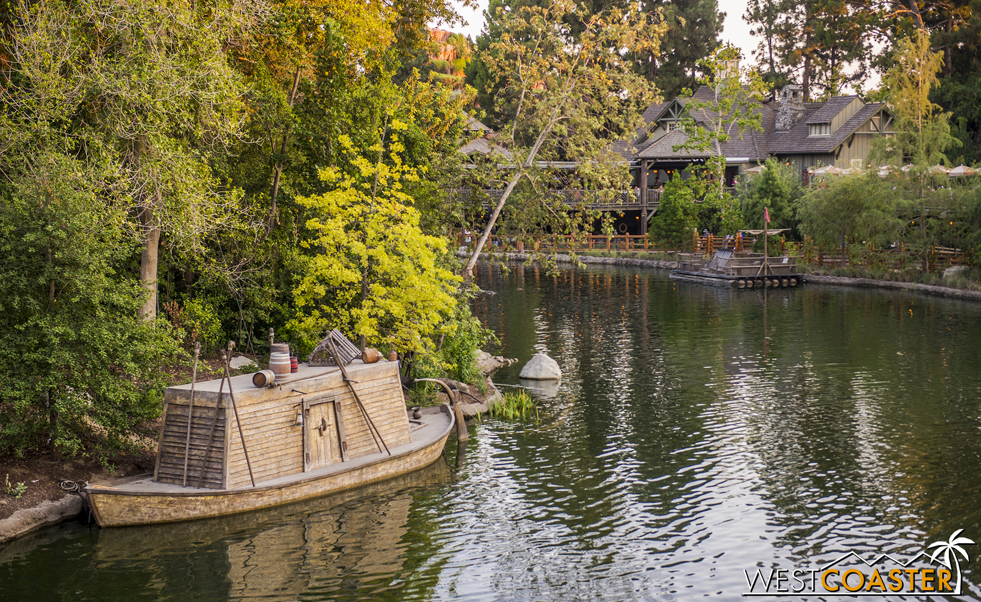 Looking across the water, we see an old keel boat tied up along Tom Sawyer Island.