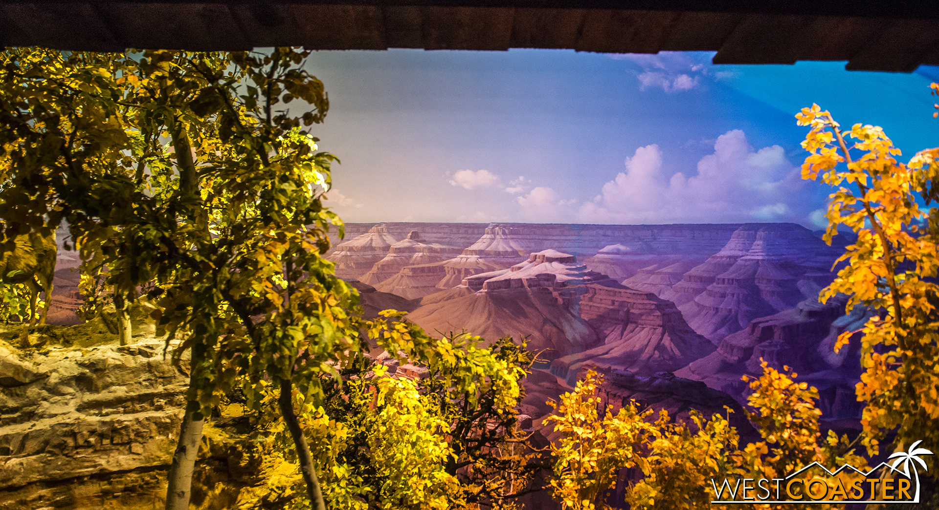 The diorama has been subtly enhanced by video mapping projections that cast birds flying in the background, weather changes, and slight scenic elements.