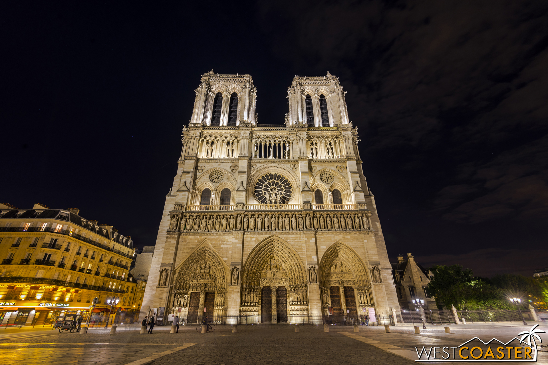The Cathedral of Notre-Dame in Paris is less packed at night, especially since it is closed, but people still gather around the plaza in front of this icon all throughout the evening.