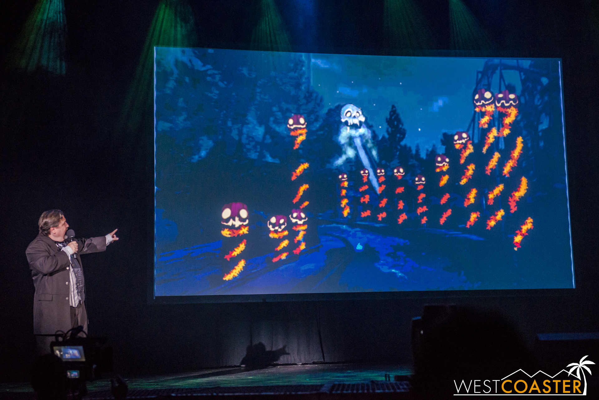 At night, a visual totem of Halloween Haunts past will return in the form of a skull projected onto the mountain itself!