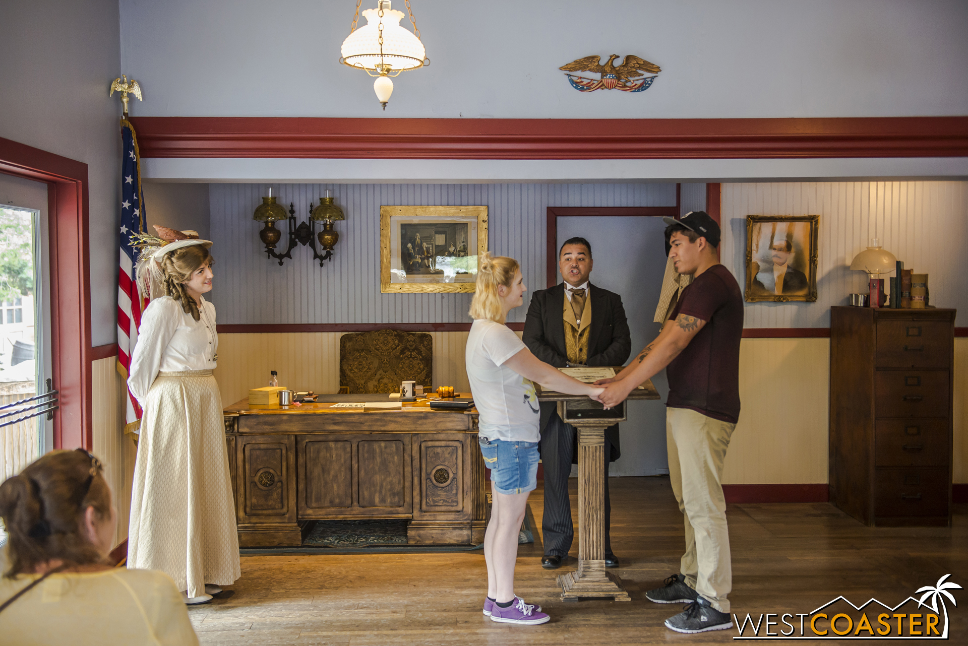 In the middle of the day, two guests flat out had a little wedding ceremony, officiated by Mayor Horton Parnell.