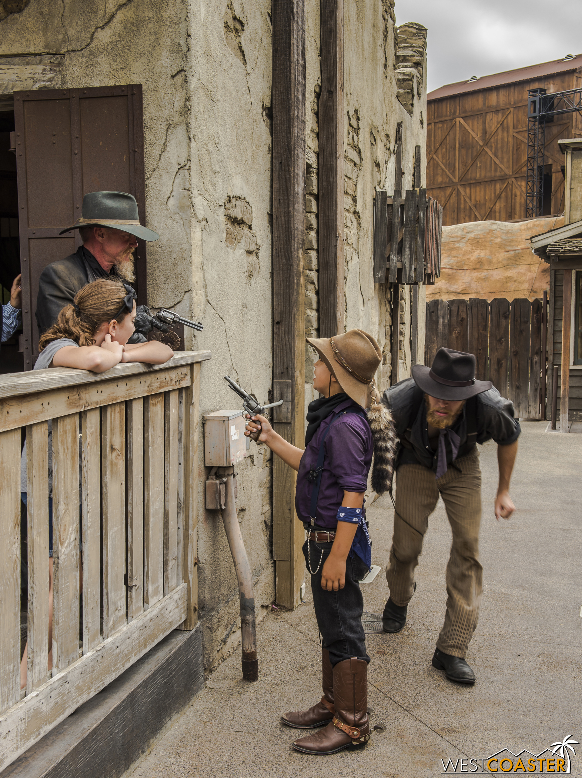Some guests get VERY involved, such as this case, where a young outlaw holds up Clay Mayfield (who has temporarily aligned himself  with  the law), allowing Fluke Mayfield to slip by.