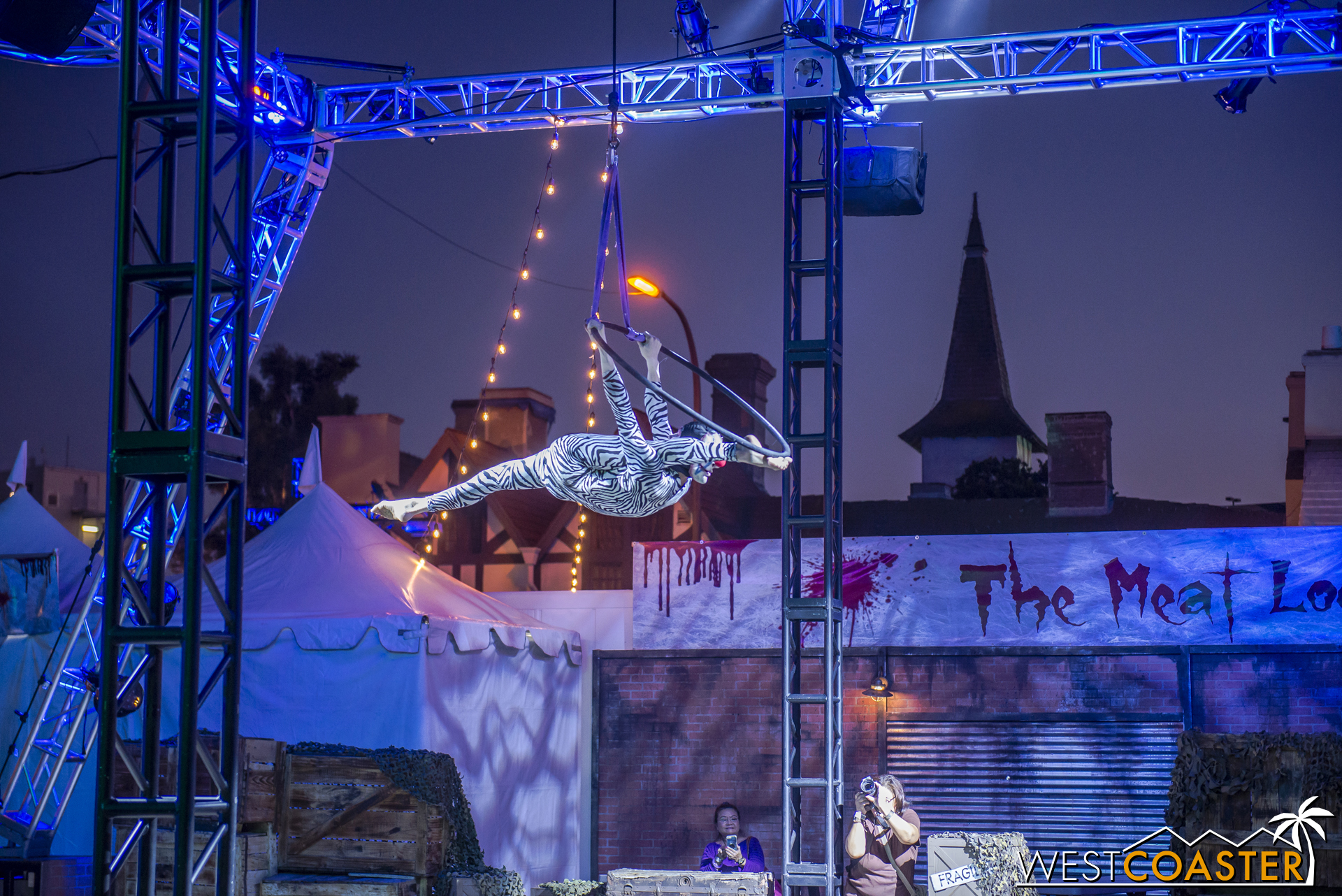 There are several aerialists who perform at Dark Harbor.