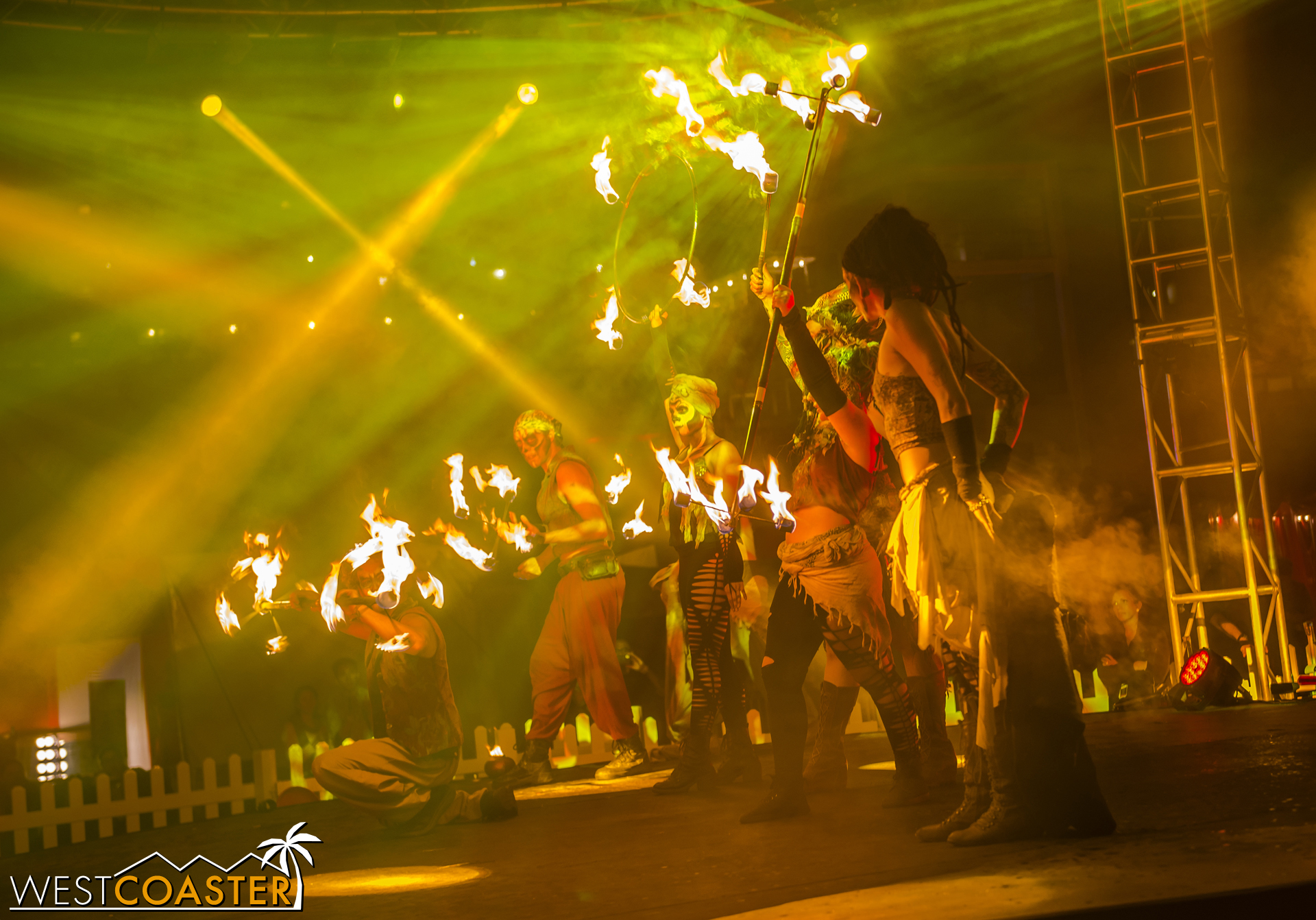 The flame bearers have a great show with plenty of fiery tricks and choreography.
