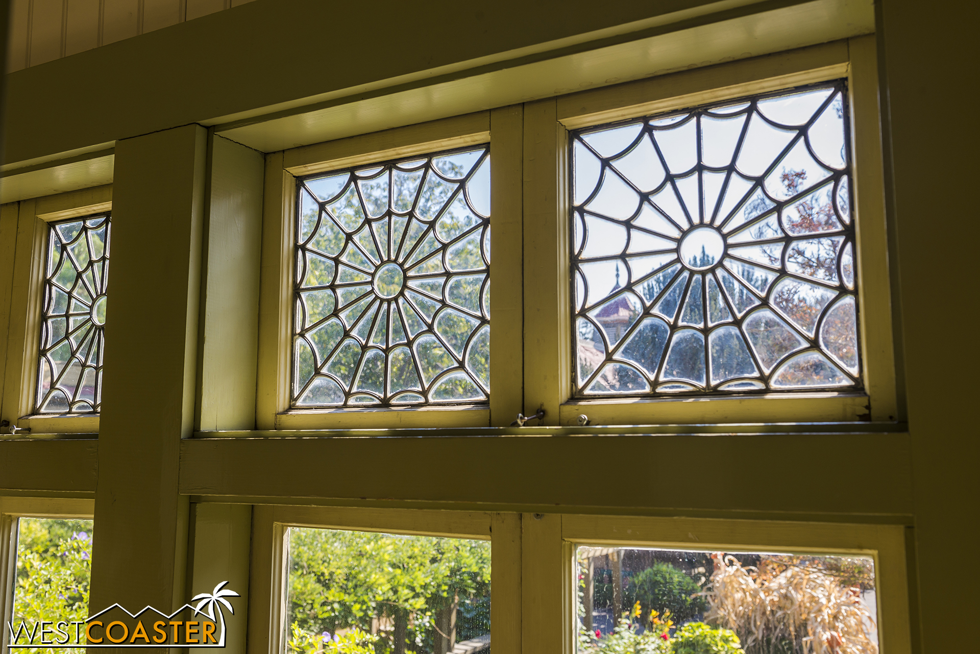 These spiderweb windows are rather fitting during the Halloween season!