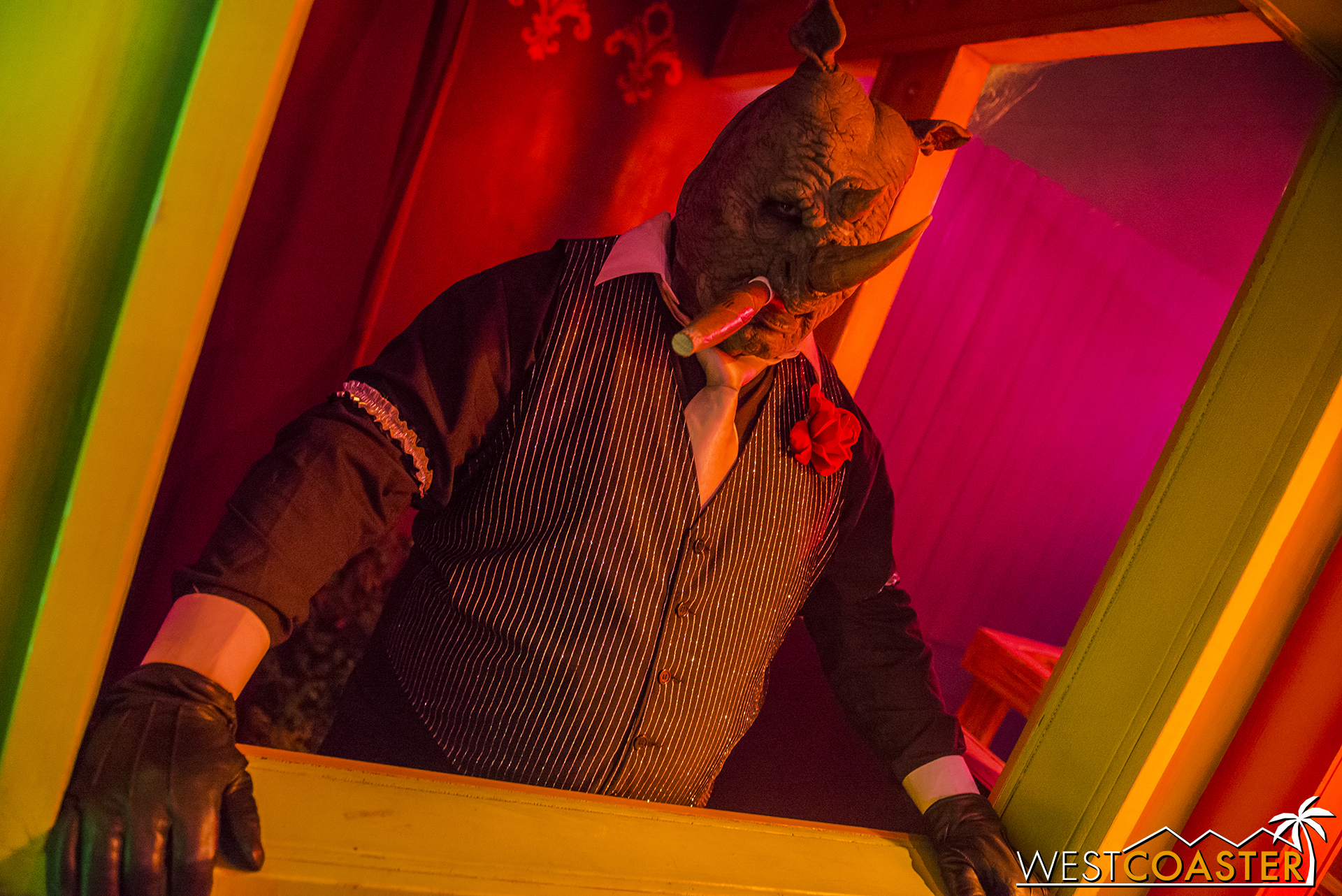 The maze seems to be run by a rather dapper rhino with a bit of an attitude.