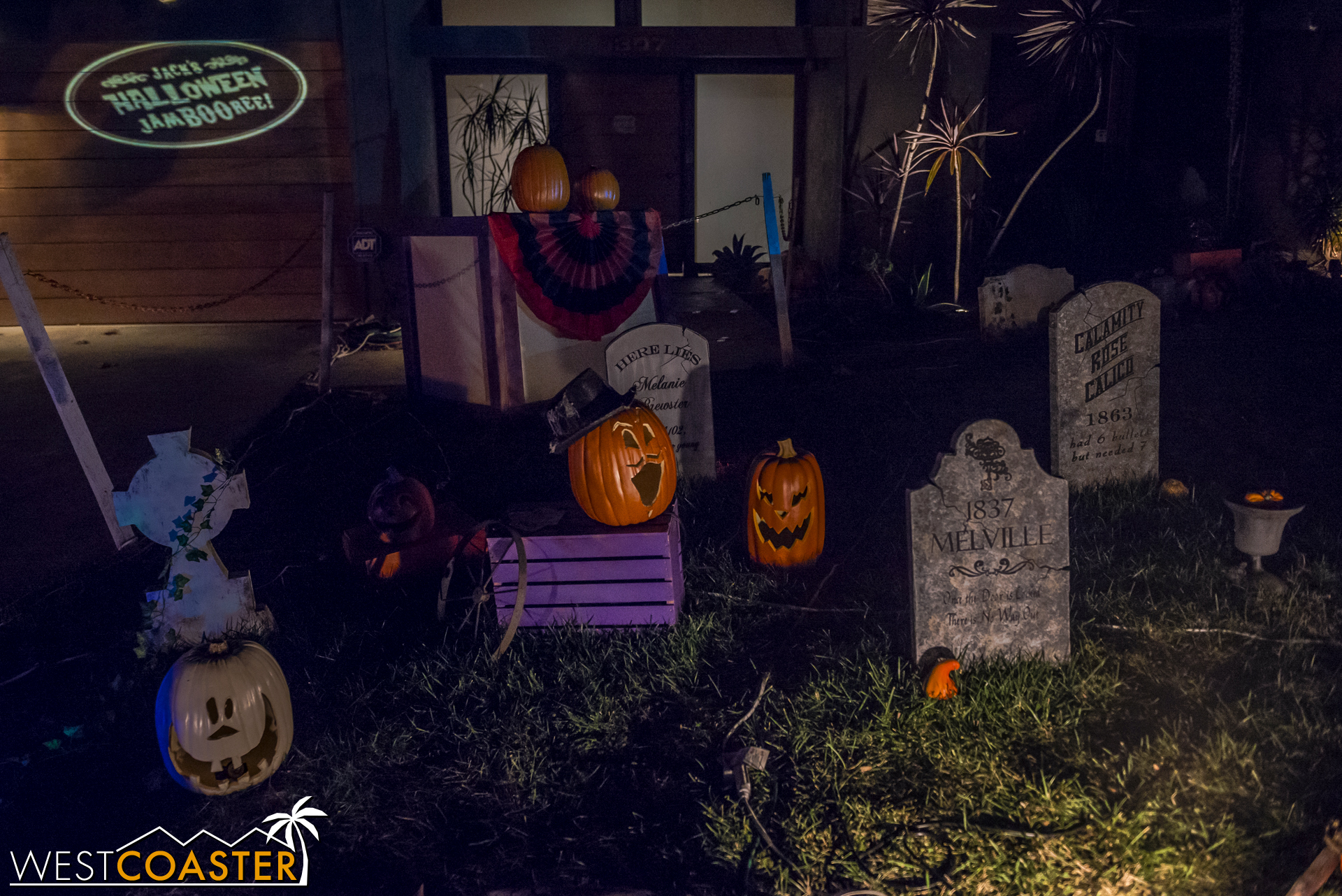"""Guests can admire the cemetery Sam has set up before the show begins, but keep in mind that this is """"pre-production,"""" and the show lights have not yet come on."""