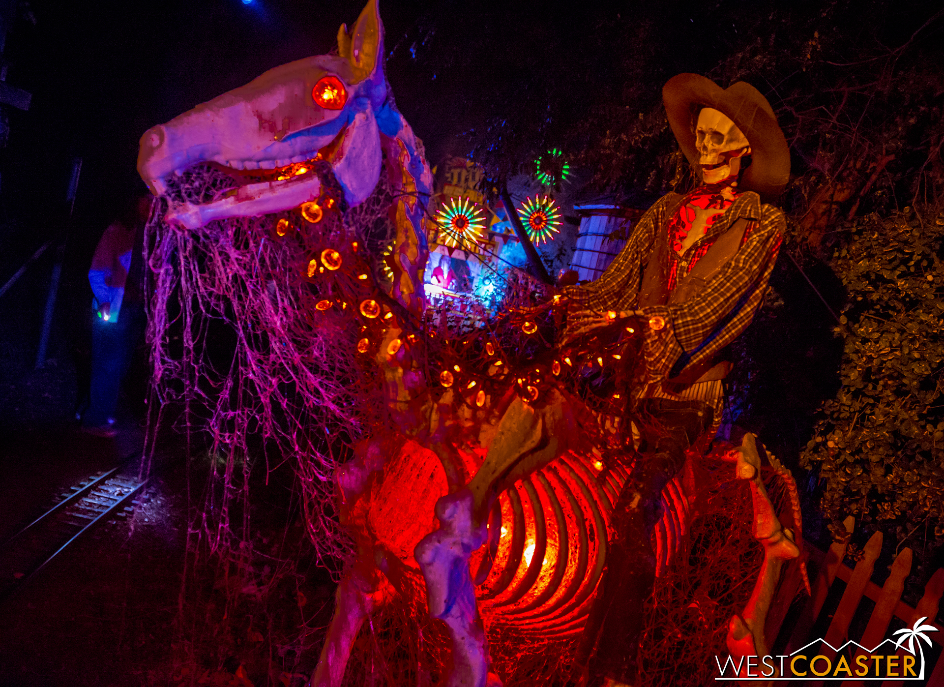 A ghostly cowboy and his horse.