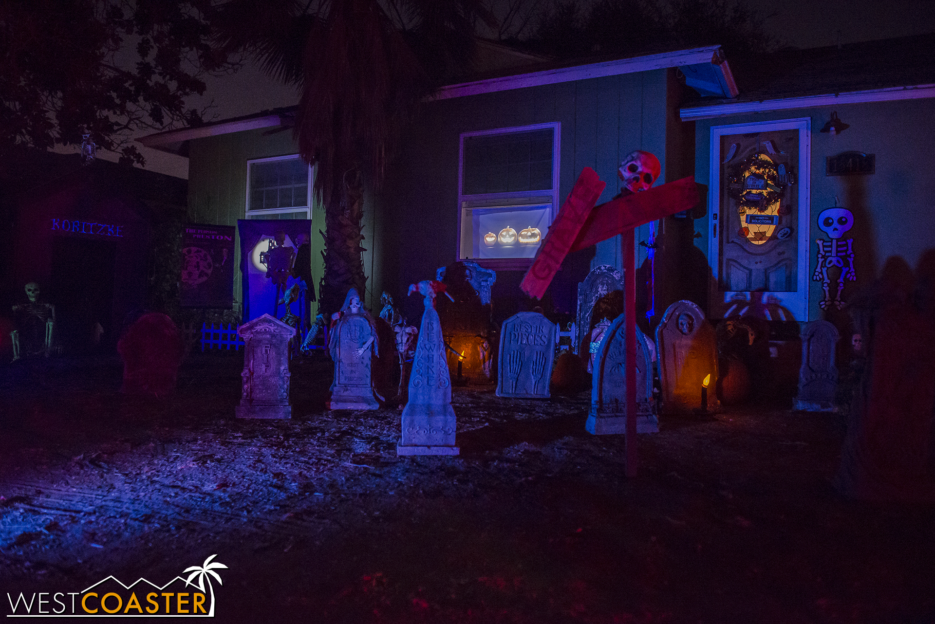 A charming cemetery yard display at the front of Spooky Hollows.