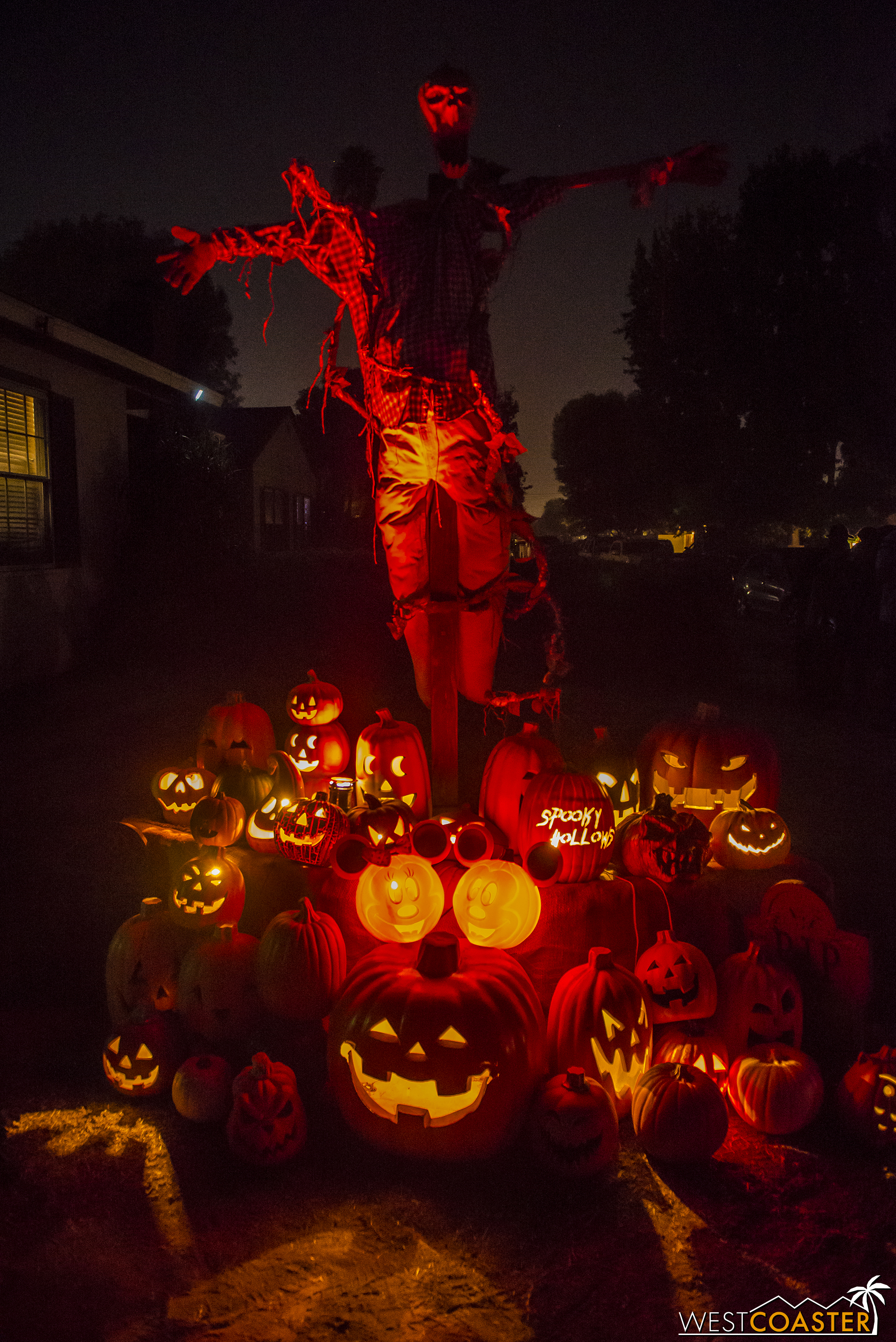 An elaborate jack-o-lantern display showcases the love of Halloween and all things fun that the creators have.