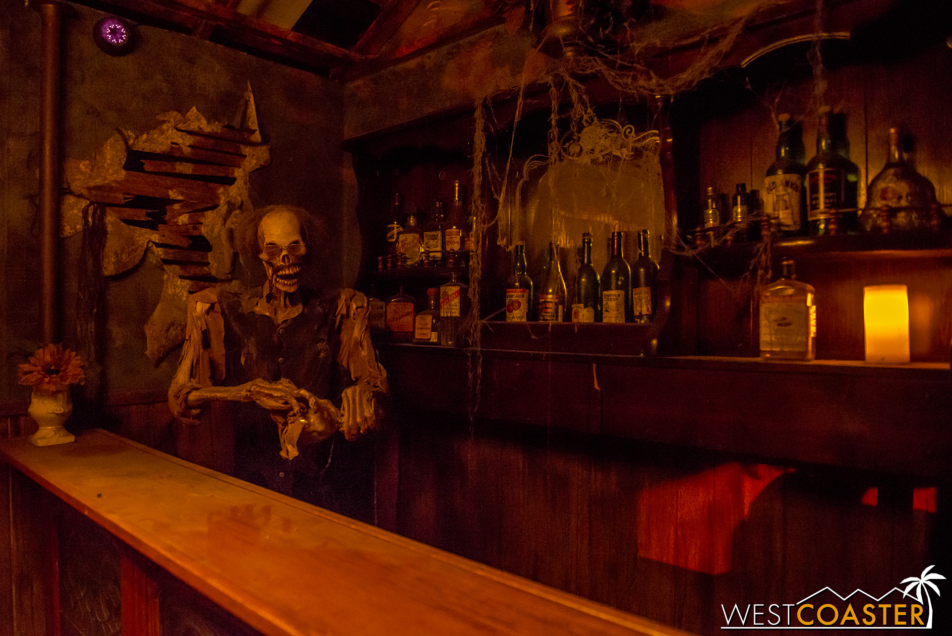 Fancy a drink to calm the nerves before this haunt? Too bad, it's not a real bar. But it looks great!