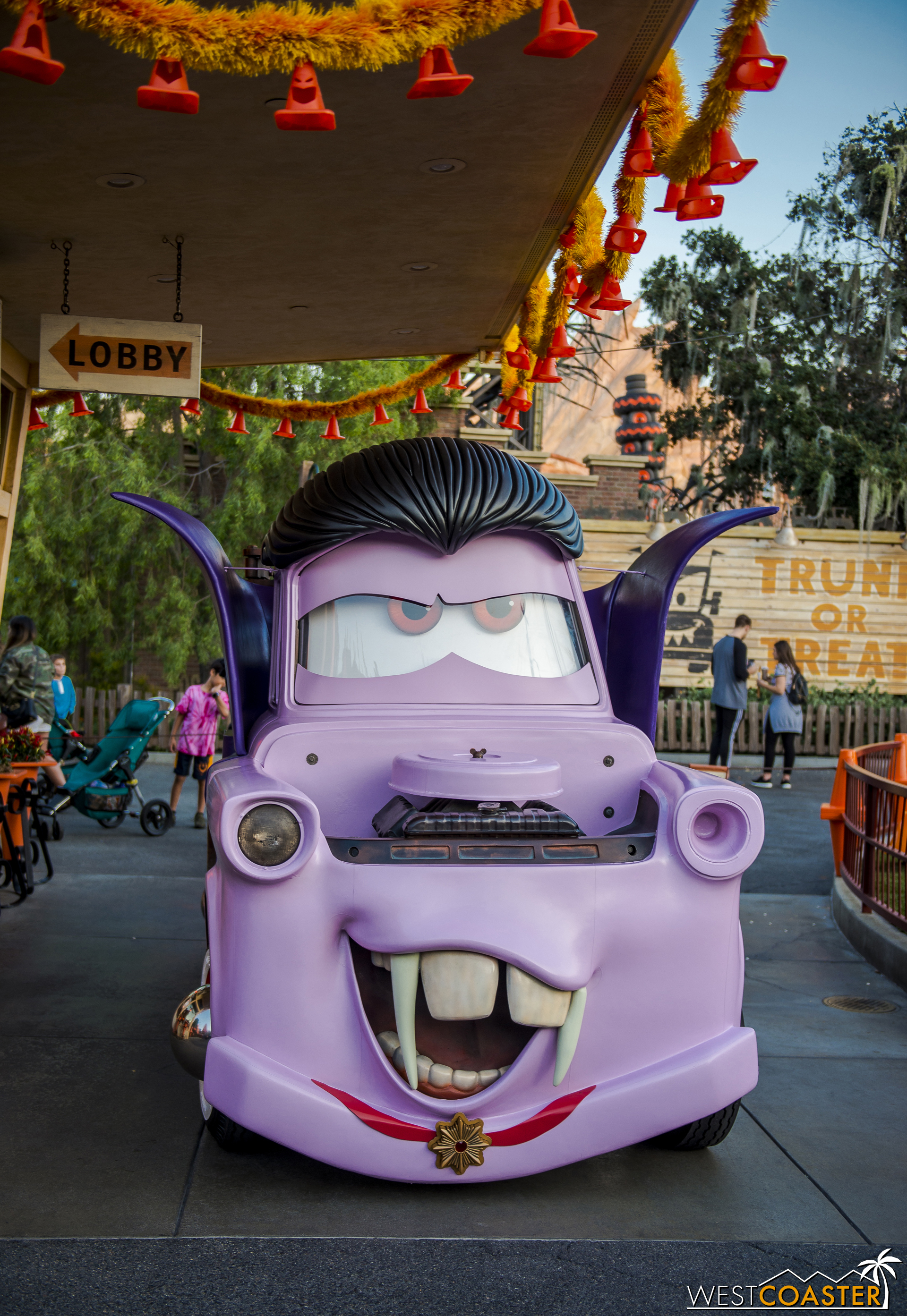 The  Cars  character meet-and-greets were also specialized. Vampire Mater provided a dashing subject.