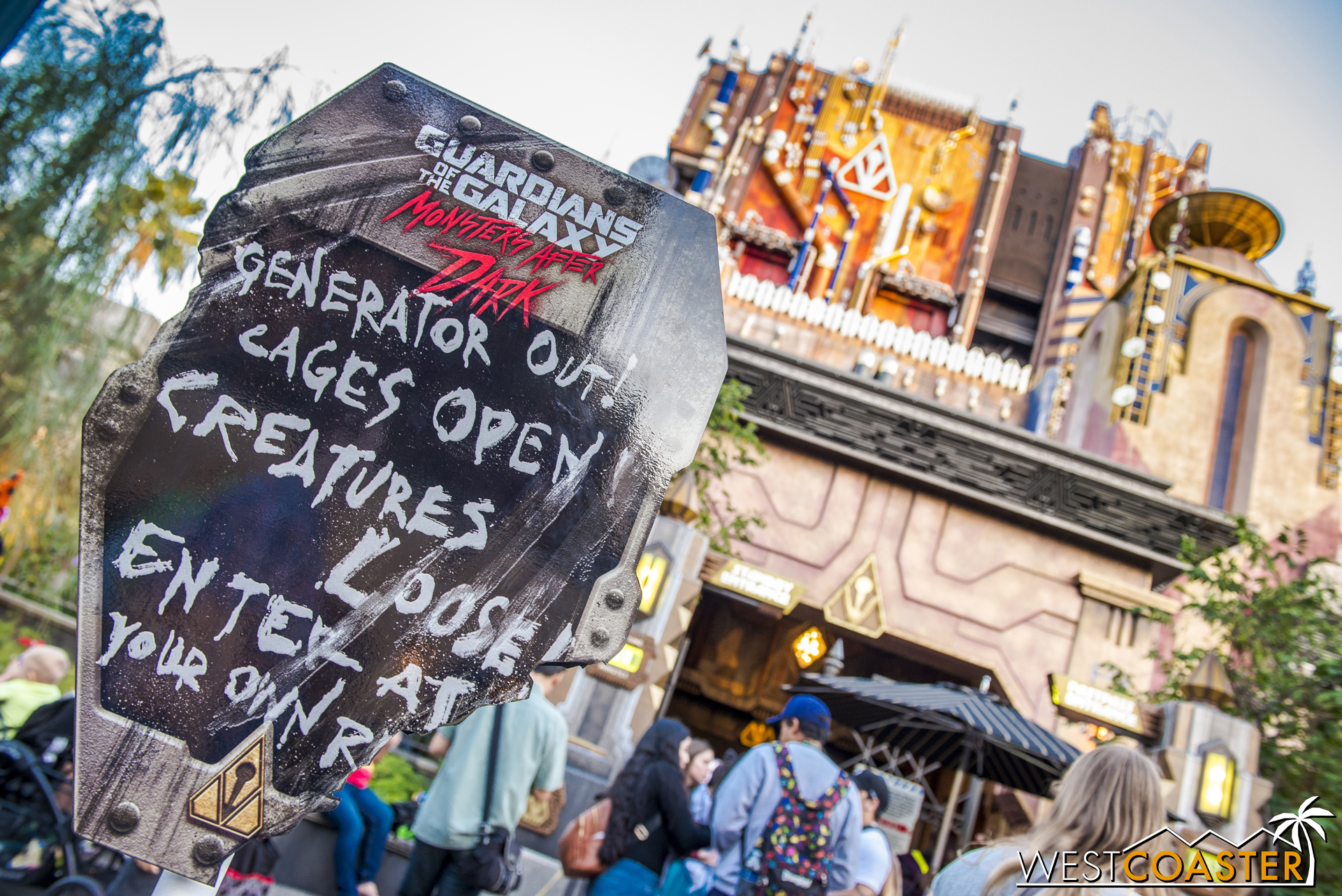 By late afternoon, though, the Guardians of the Galaxy ride was transformed by a sinister Halloween overlay.