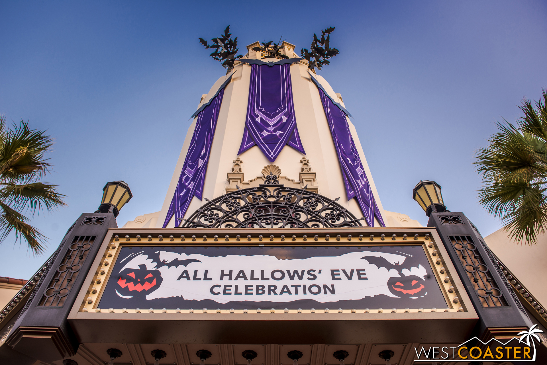 Oogie Boogie's fluttering bats were everywhere, and so was a purple cast.