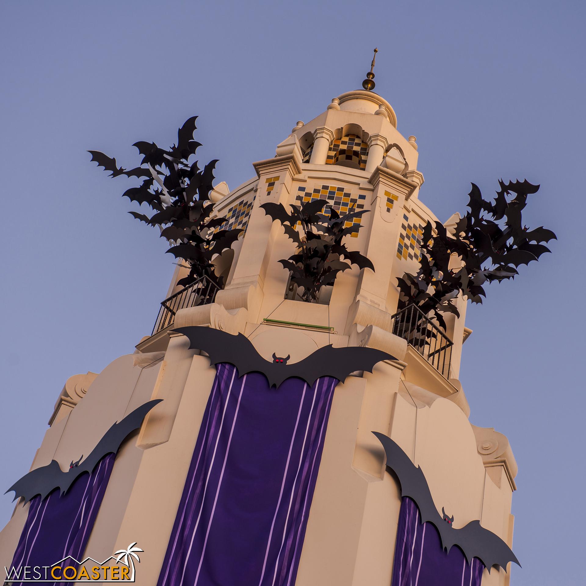 The Carthay Circle Restaurant tower had a dramatic exodus of bats.