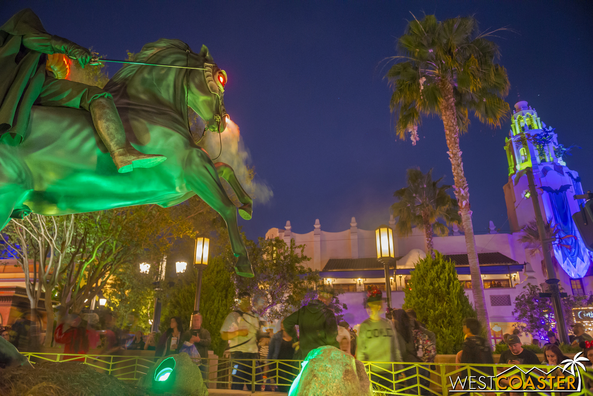 Even more dramatic at night was the Headless Horseman statue.
