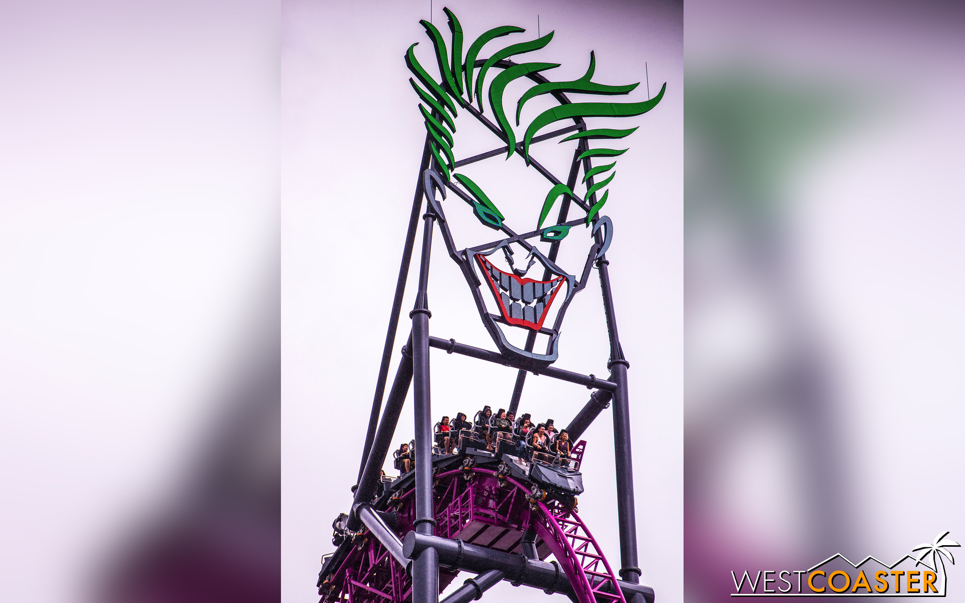 The Joker sports a menacing grin at the top of DC Rivals HyperCoaster.