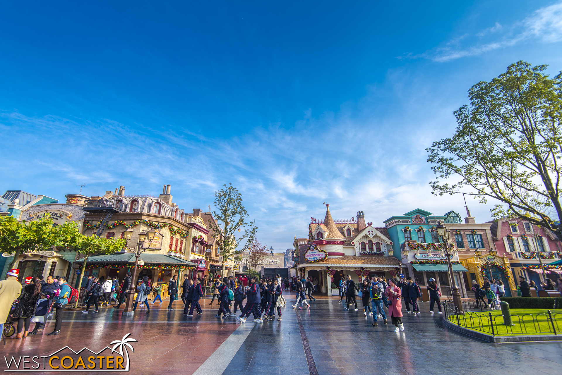 The right hand side of Mickey Avenue on a beautiful, blue sky morning.