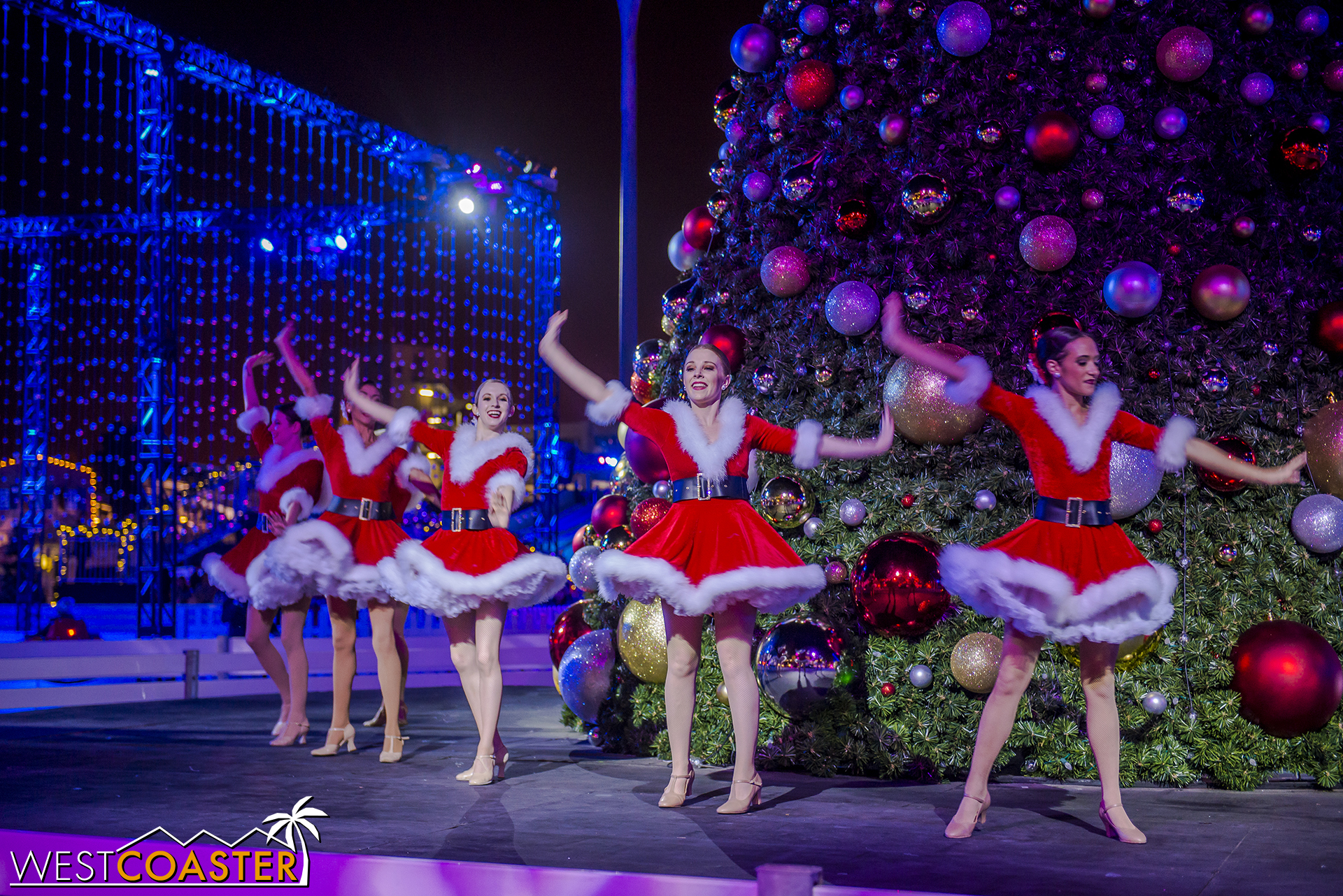 A few times a night, dancers emerge at the central Christmas tree to put on a show.