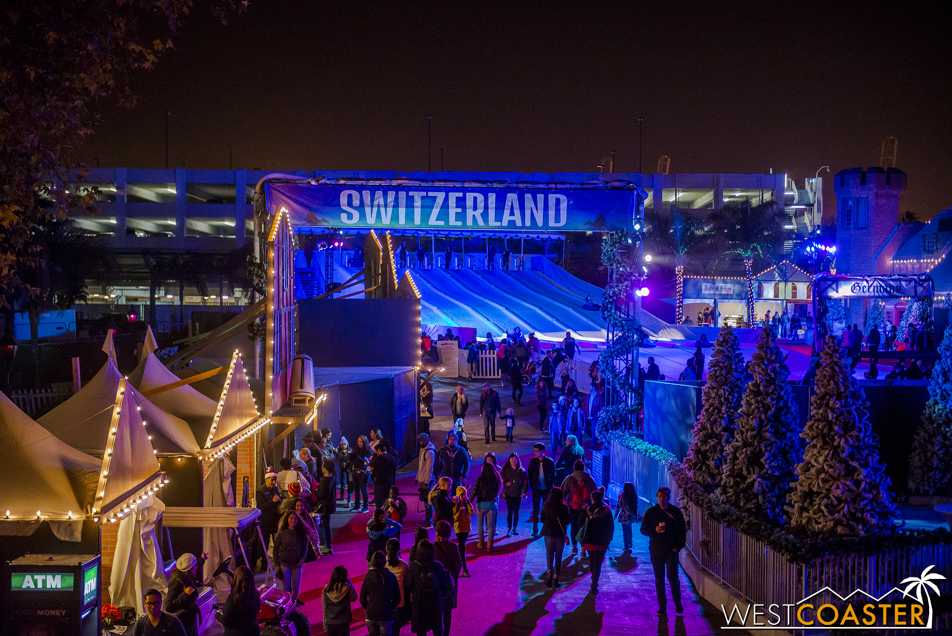 This sign is a bit misleading, since the photo is taken from within the Switzerland area already, but the Christmas village feel of this year's Chill is more immersive than last.