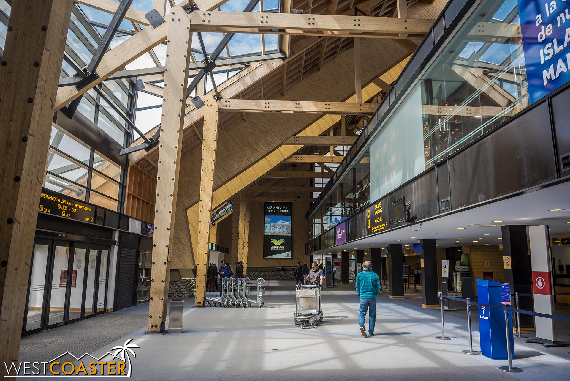 Inside the main lobby of Ushuaia's very intimate international airport.