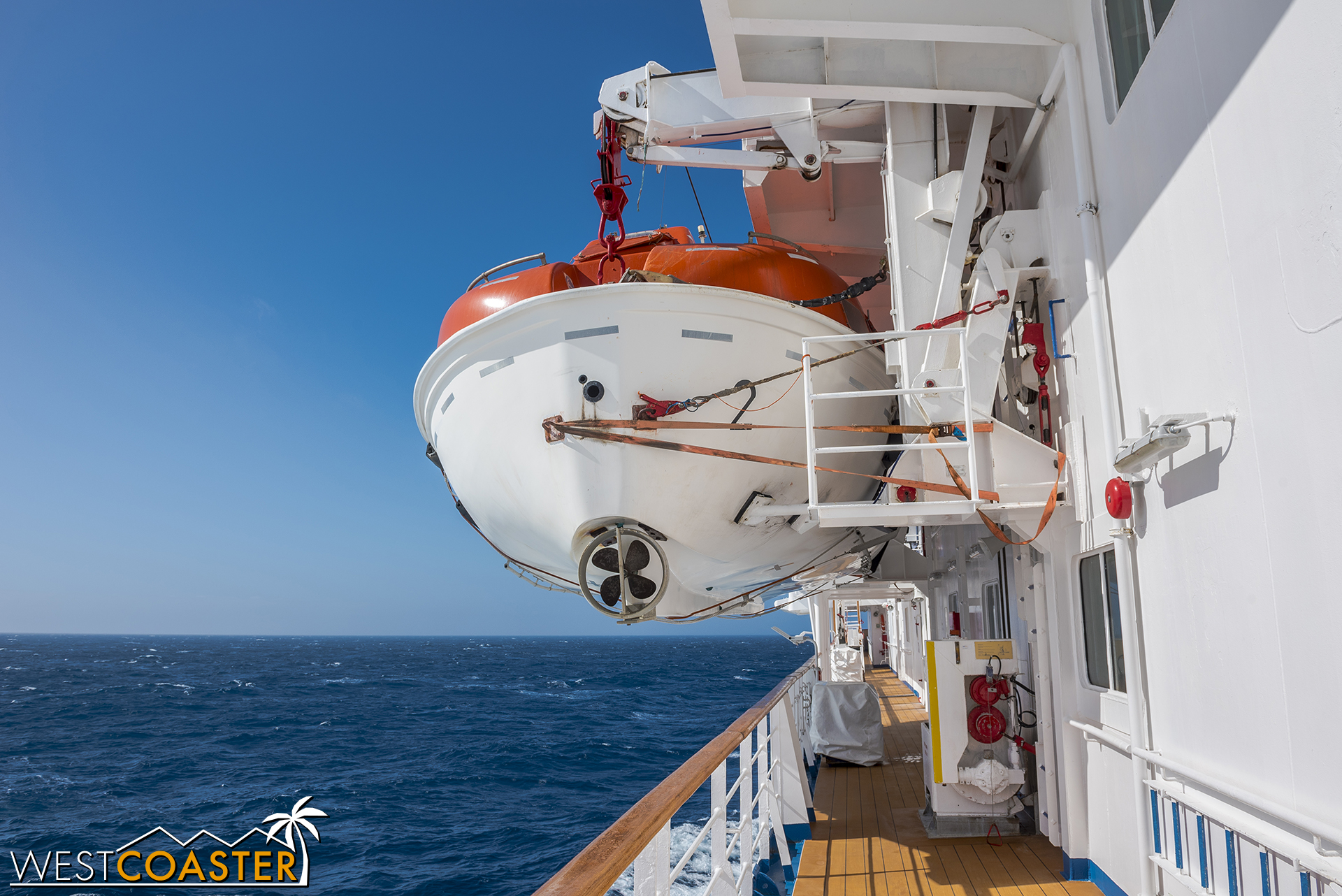 Walking along the side of the ship.