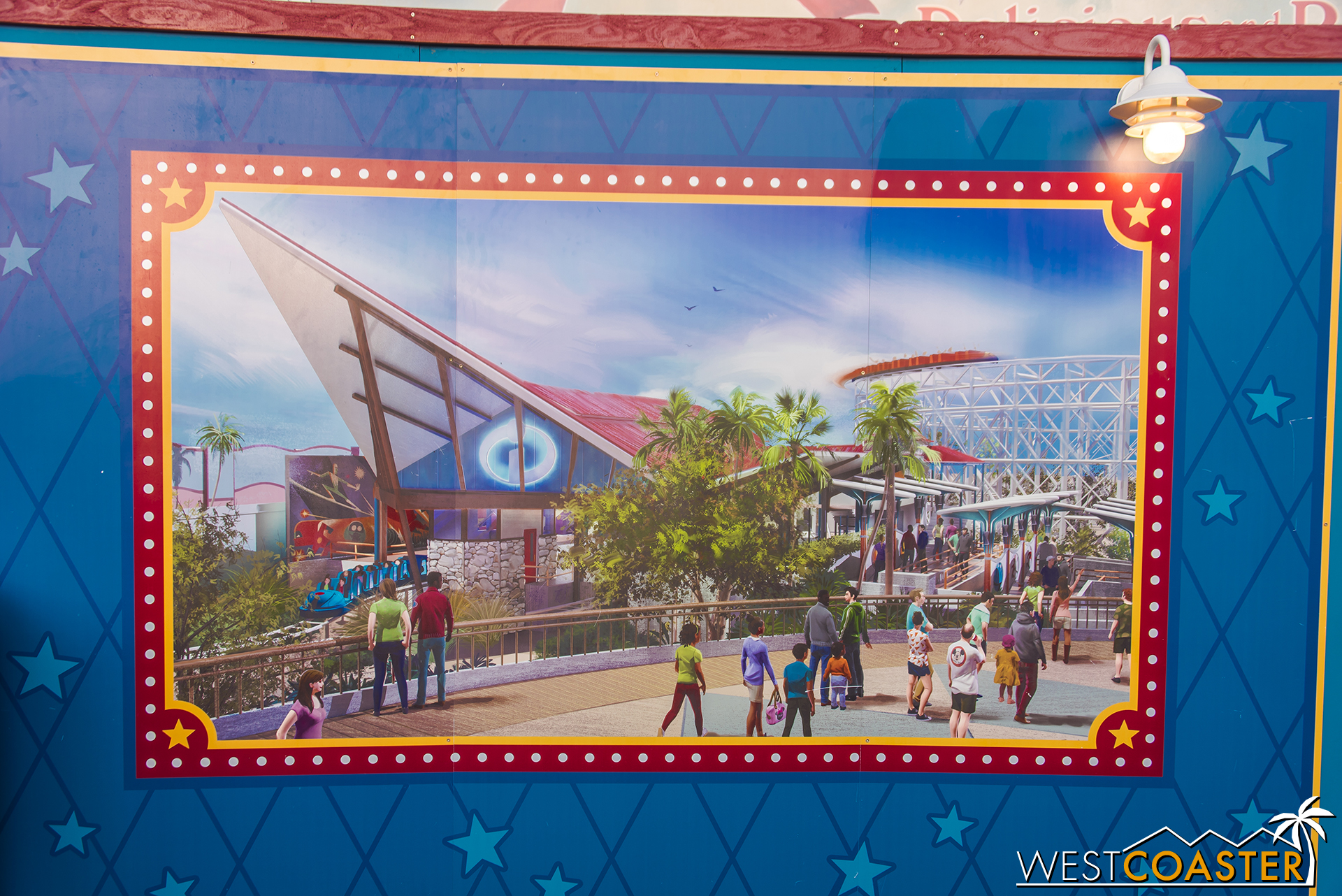 The station for the reimagined Incredicoaster features a bit of mid-century style.
