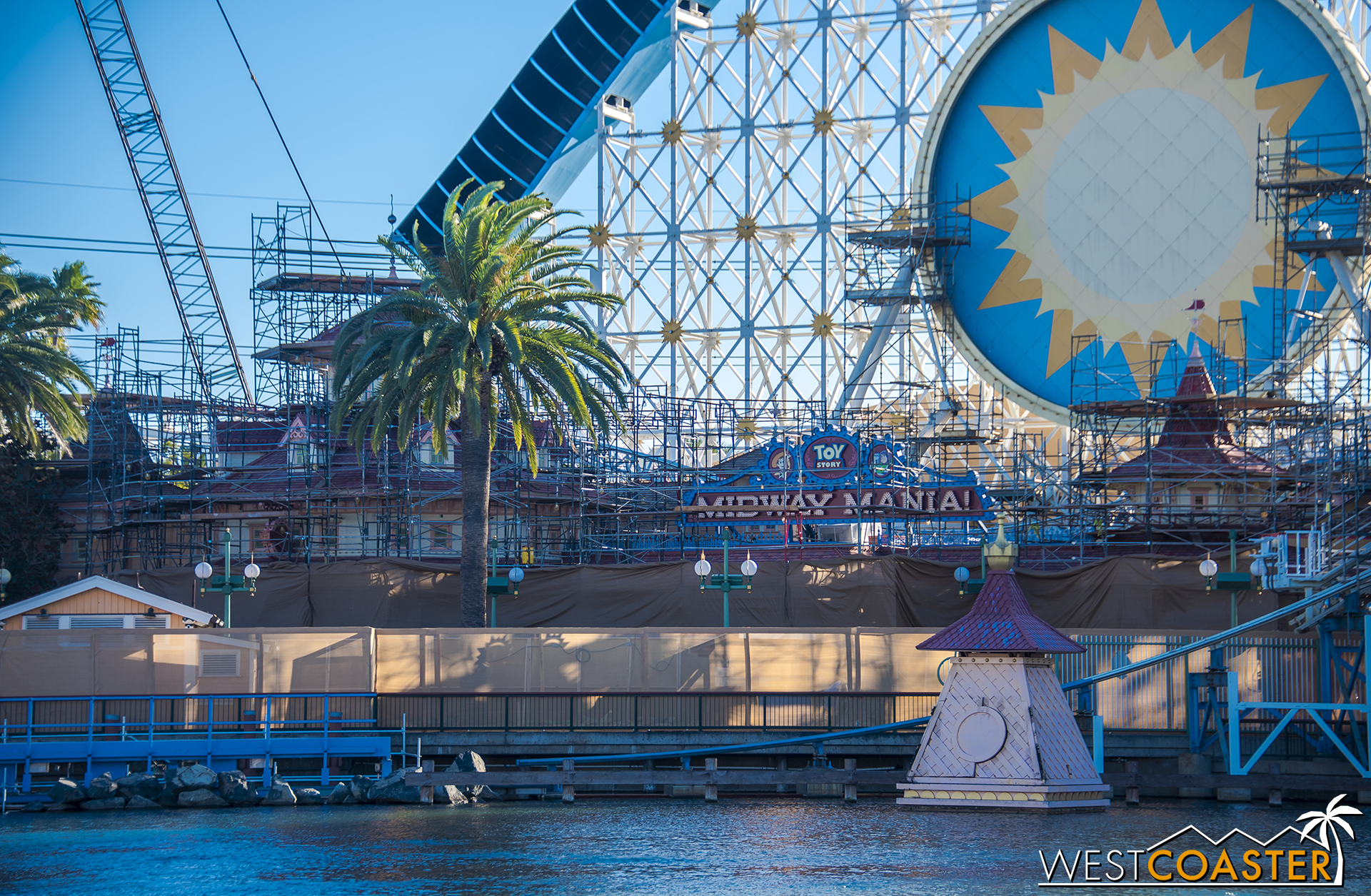 A slew of scaffolding has gone up all along the back of Paradise Pier for work on the building facades.